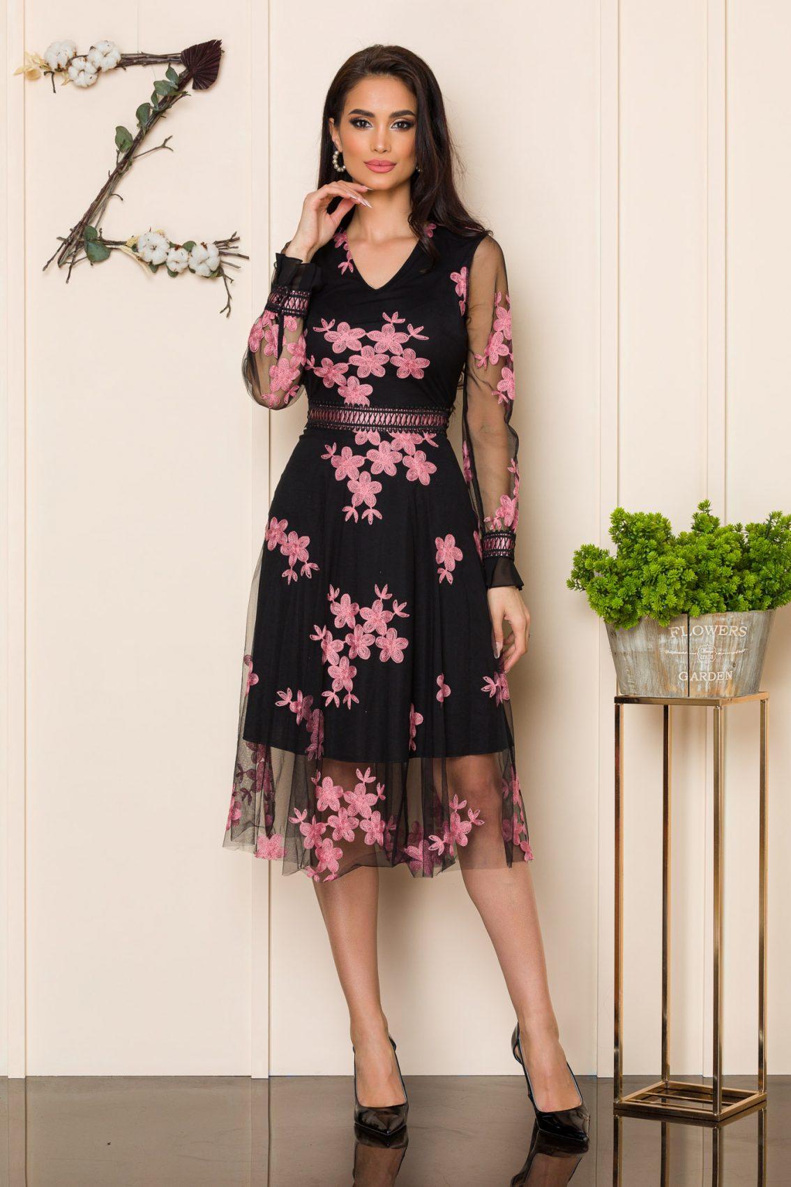 Μαύρο Μίντι Αμπιγιέ Φόρεμα Henley A177 1