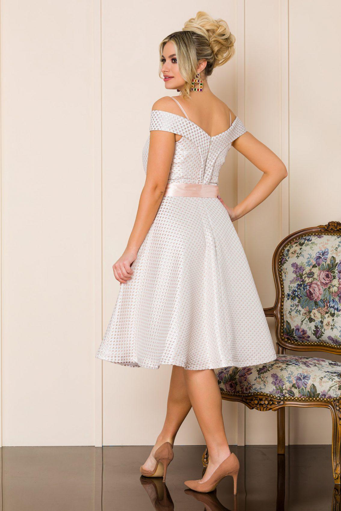 Ροδακινί Μίντι Αμπιγιέ Φόρεμα Delicia A144 2