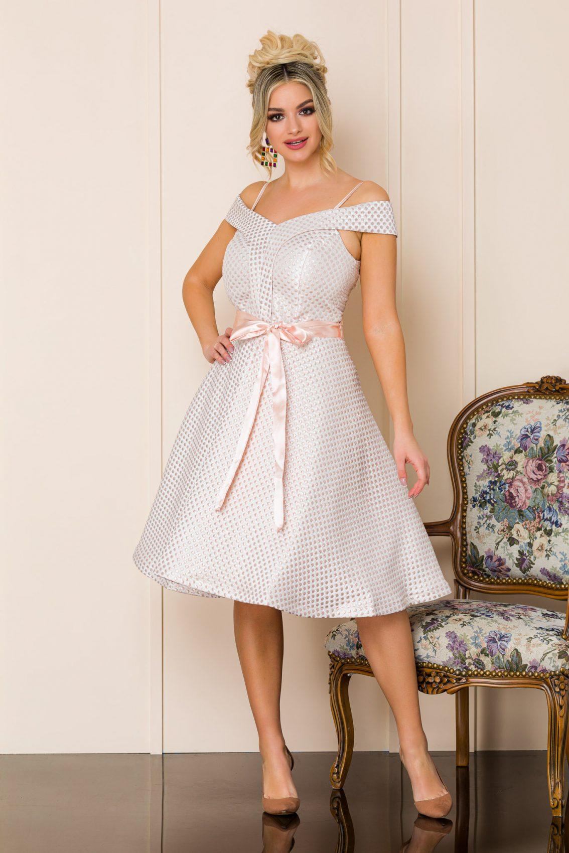 Ροδακινί Μίντι Αμπιγιέ Φόρεμα Delicia A144 1