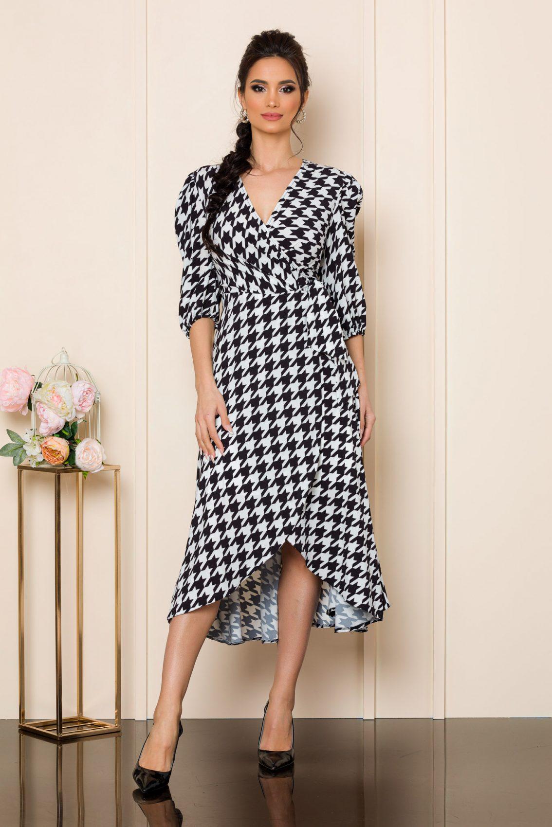 Ασπρόμαυρο Μίντι Φόρεμα Με Βολάν Loreen 9828 1