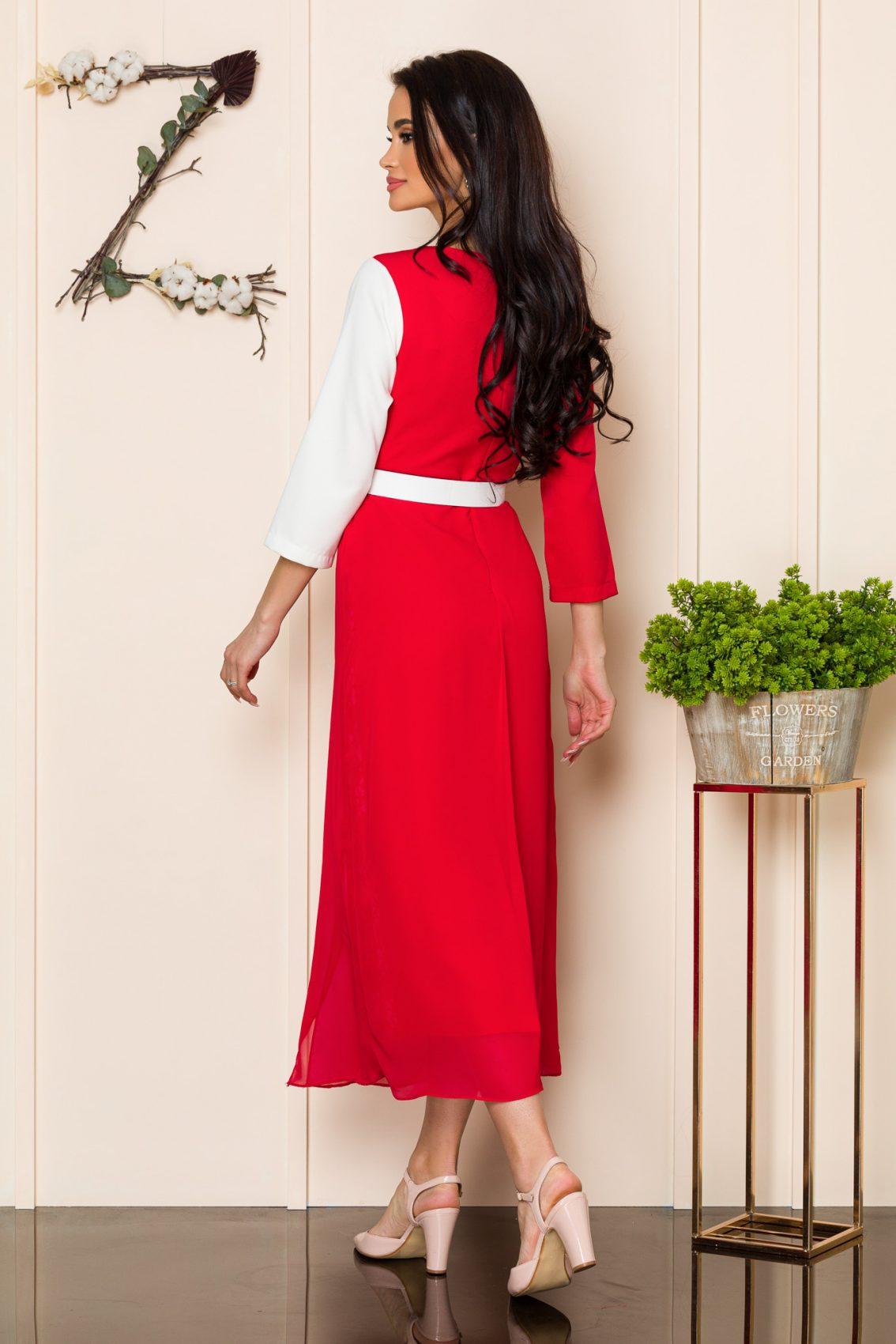 Κόκκινο Φόρεμα Με Δαντέλα Nadya A179 2