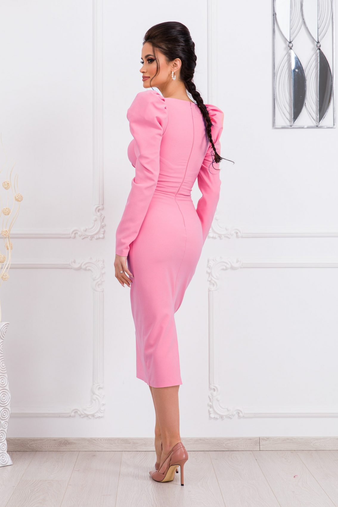 Μίντι Ροζ Φόρεμα Pandora 9794 2