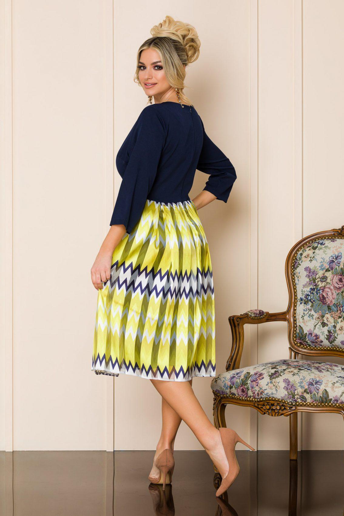 Μπλε Μίντι Βραδινό Φόρεμα Eloise 9867 2