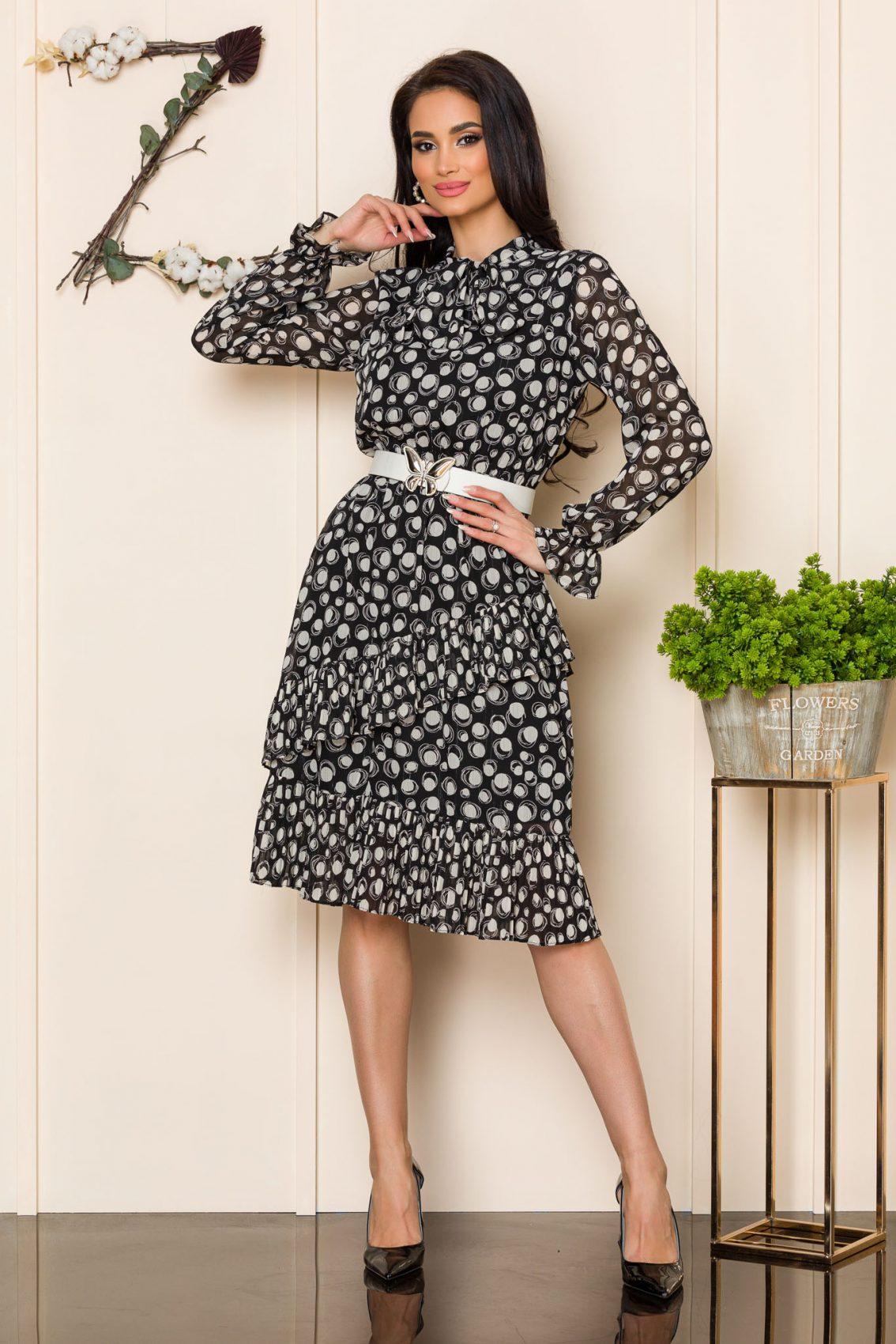 Ασπρόμαυρο Μακρυμάνικο Φόρεμα Alexa 9855 1