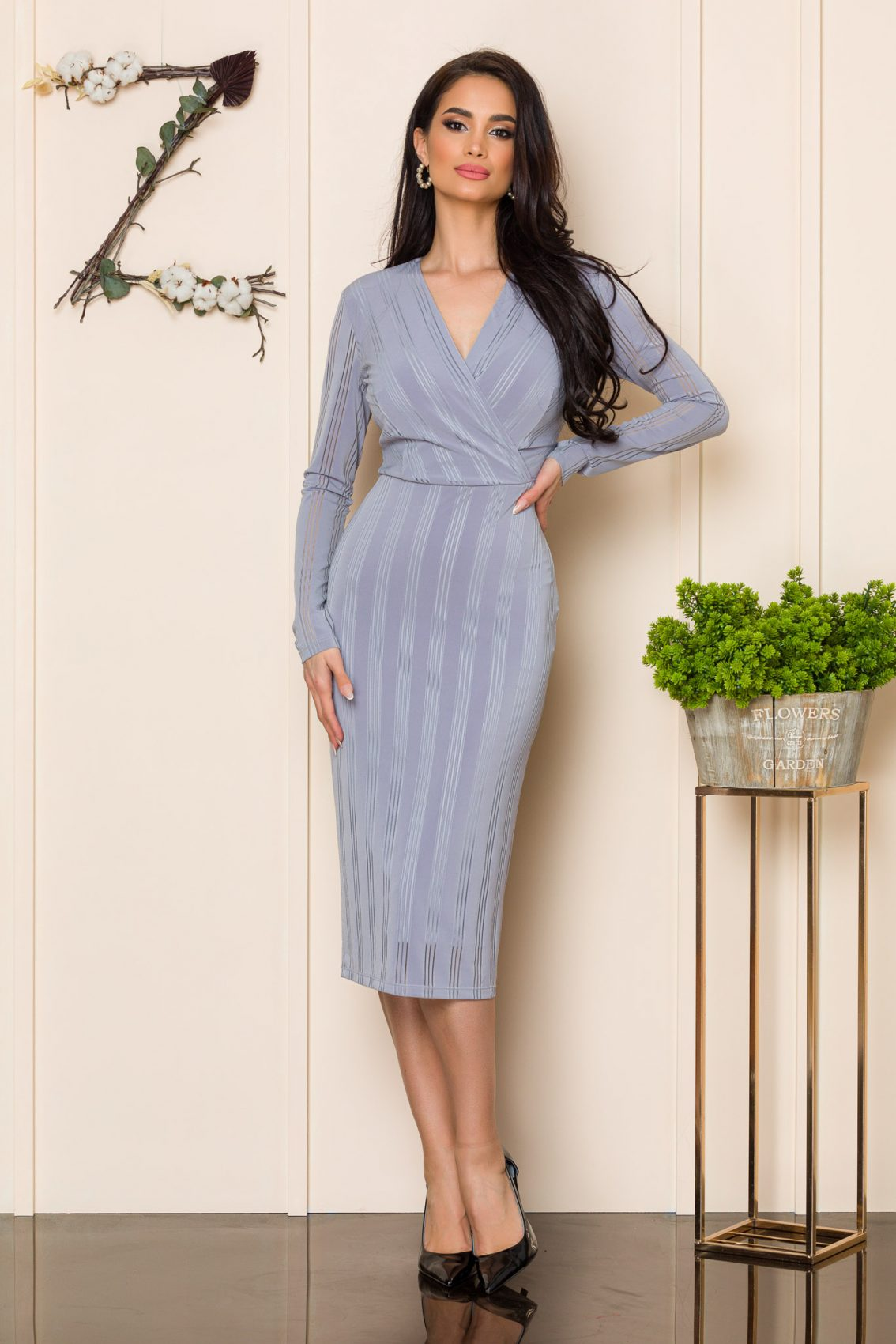 Γκρι Μίντι Πένσιλ Φόρεμα Ella 9861 1