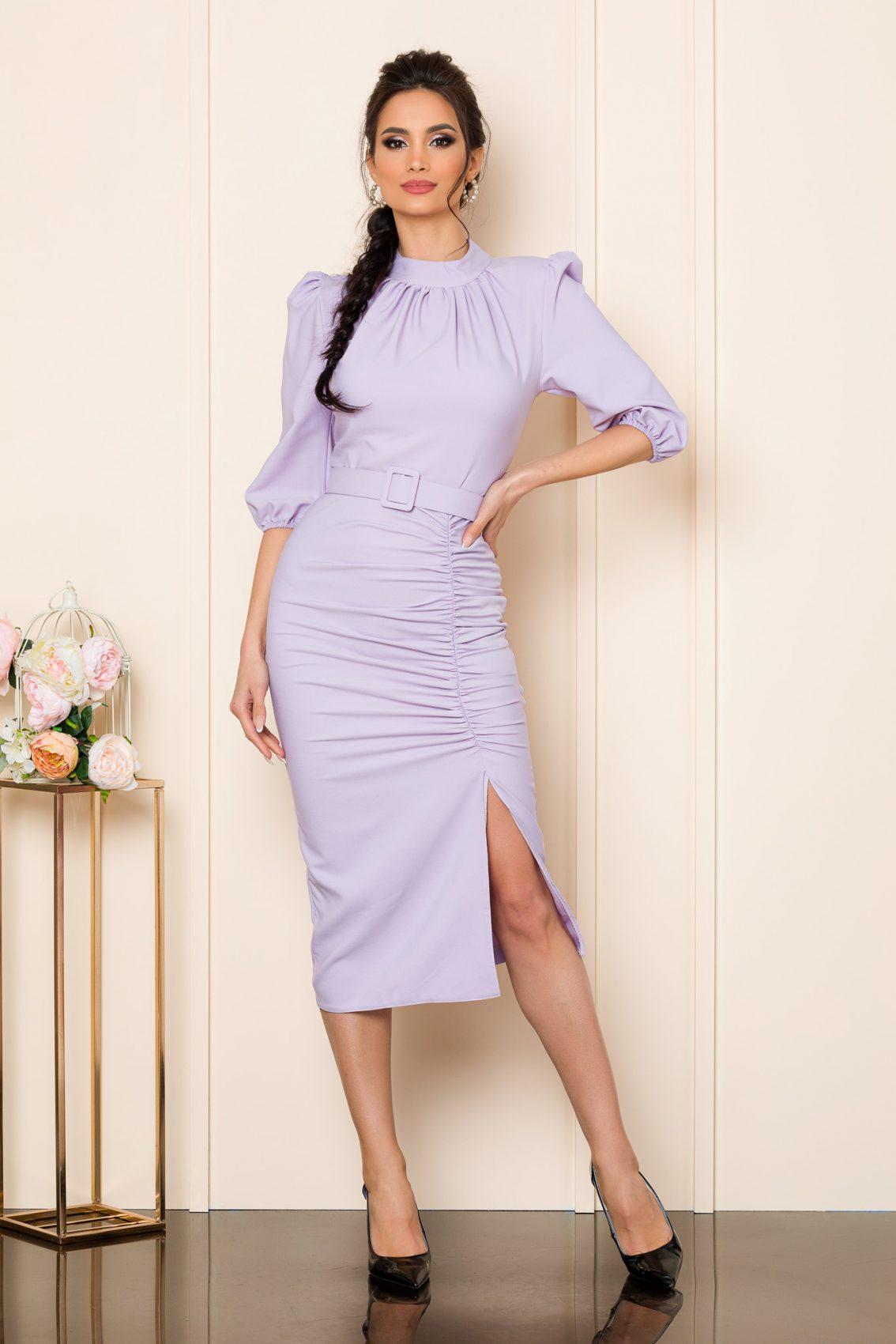 Λιλά Μίντι Φόρεμα Fiorella 9797 1
