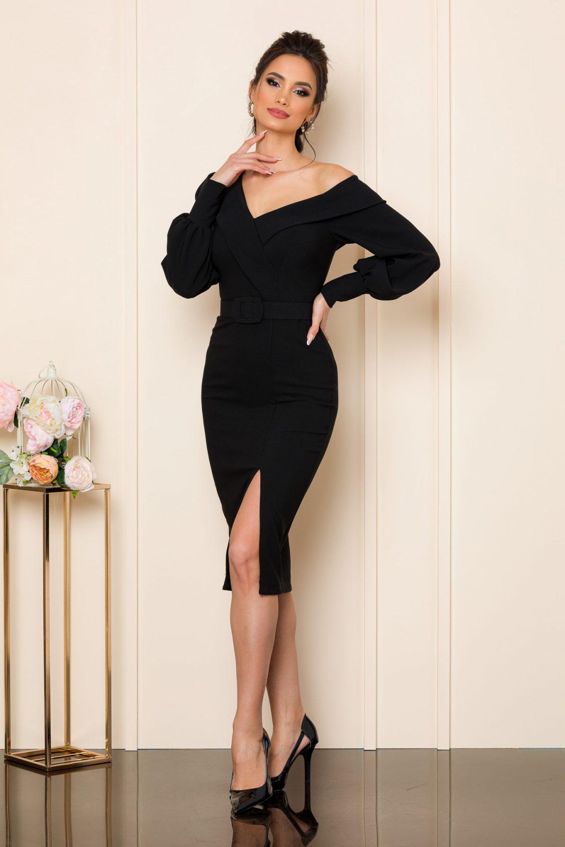 Μαύρο Μίντι Φόρεμα Iren 9838 1