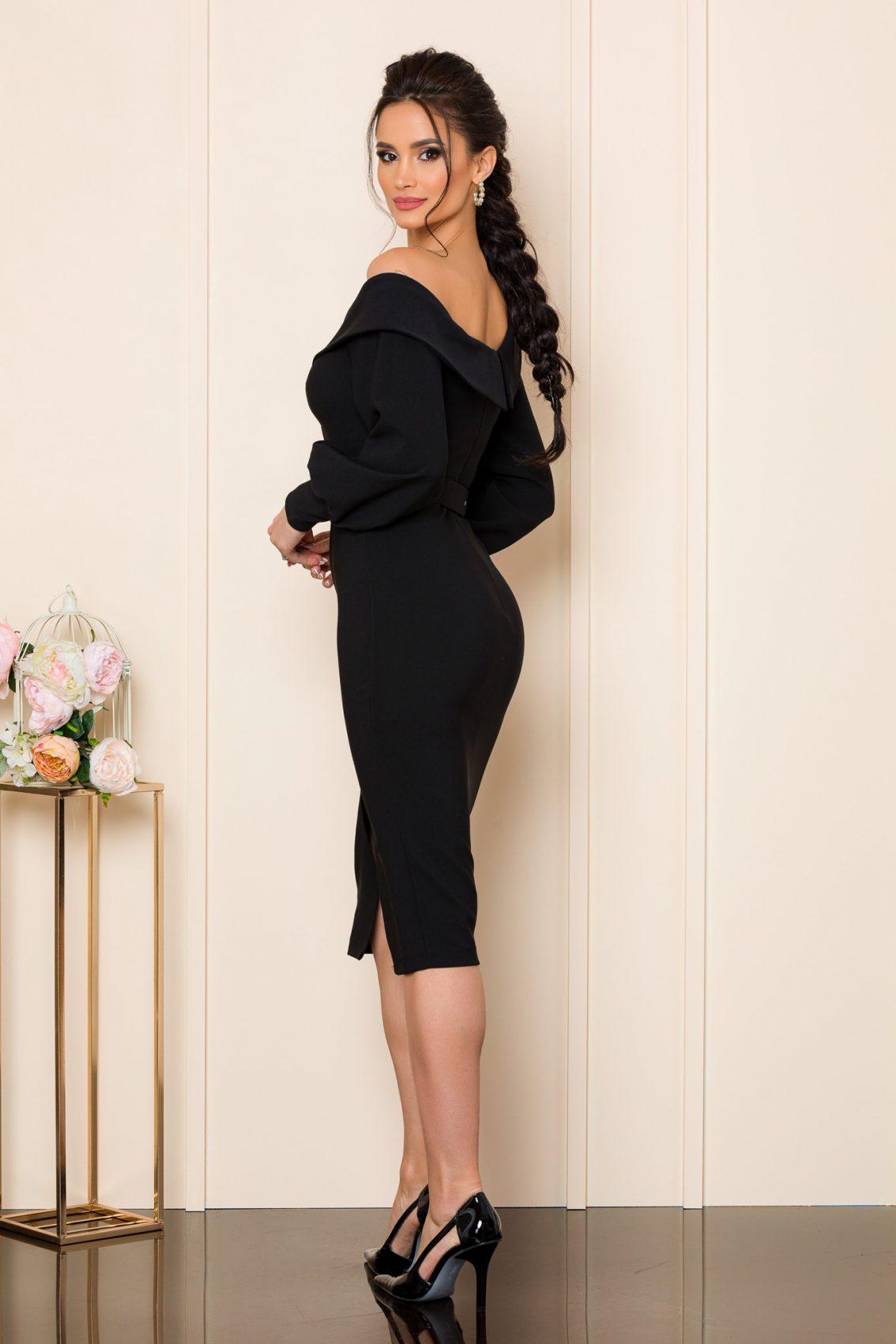 Μαύρο Μίντι Φόρεμα Iren 9838 2