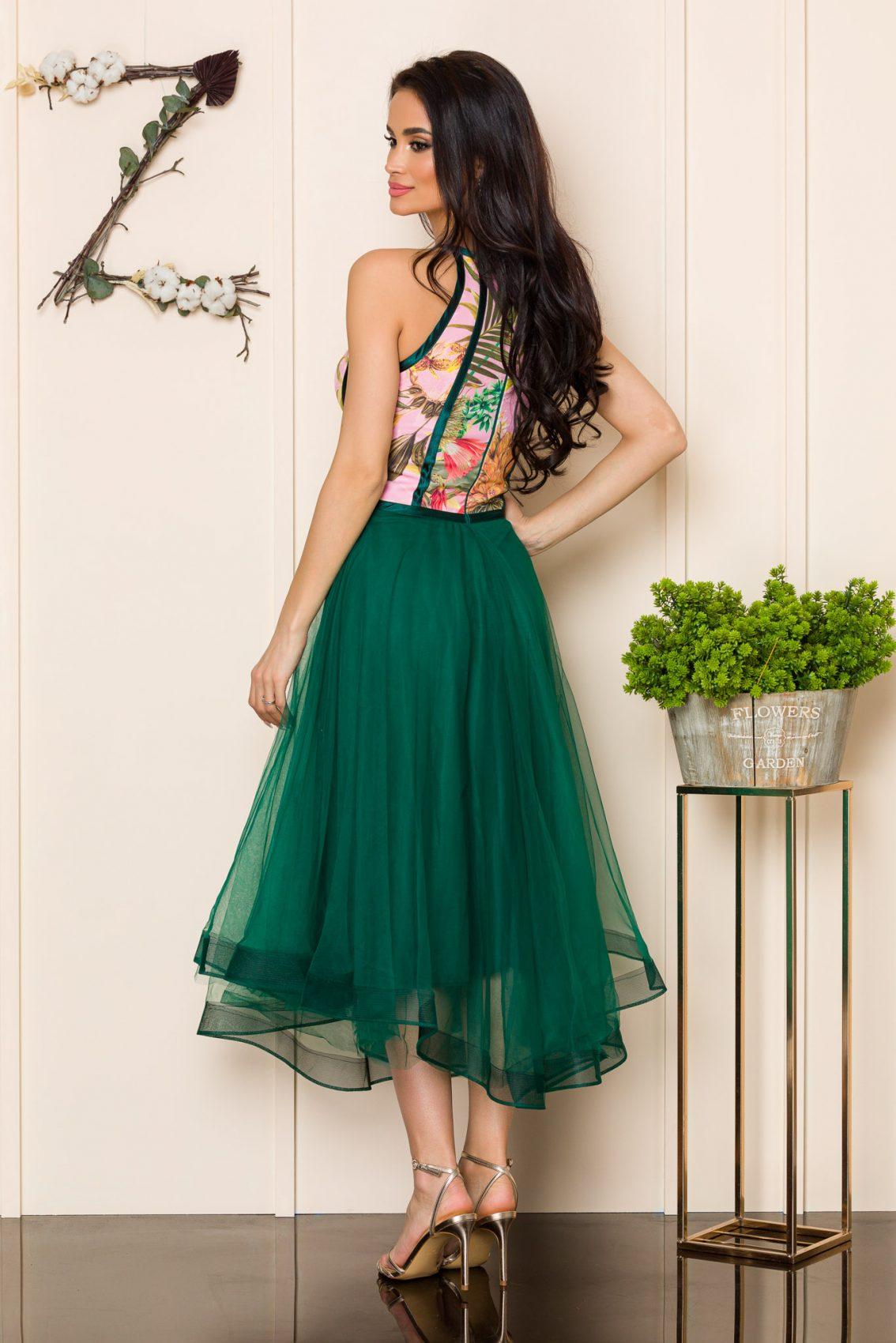 Πράσινο Μίντι Αμπιγιέ Φόρεμα Dollyne A167 2