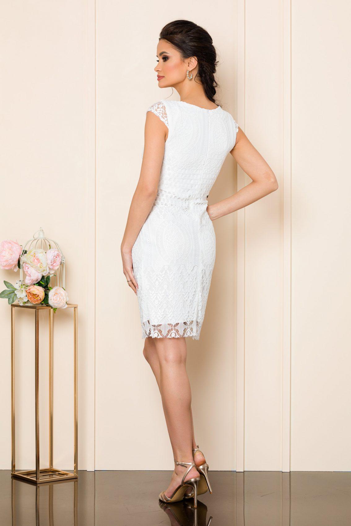 Λευκό Φόρεμα Από Δαντέλα Lyana 8029 2