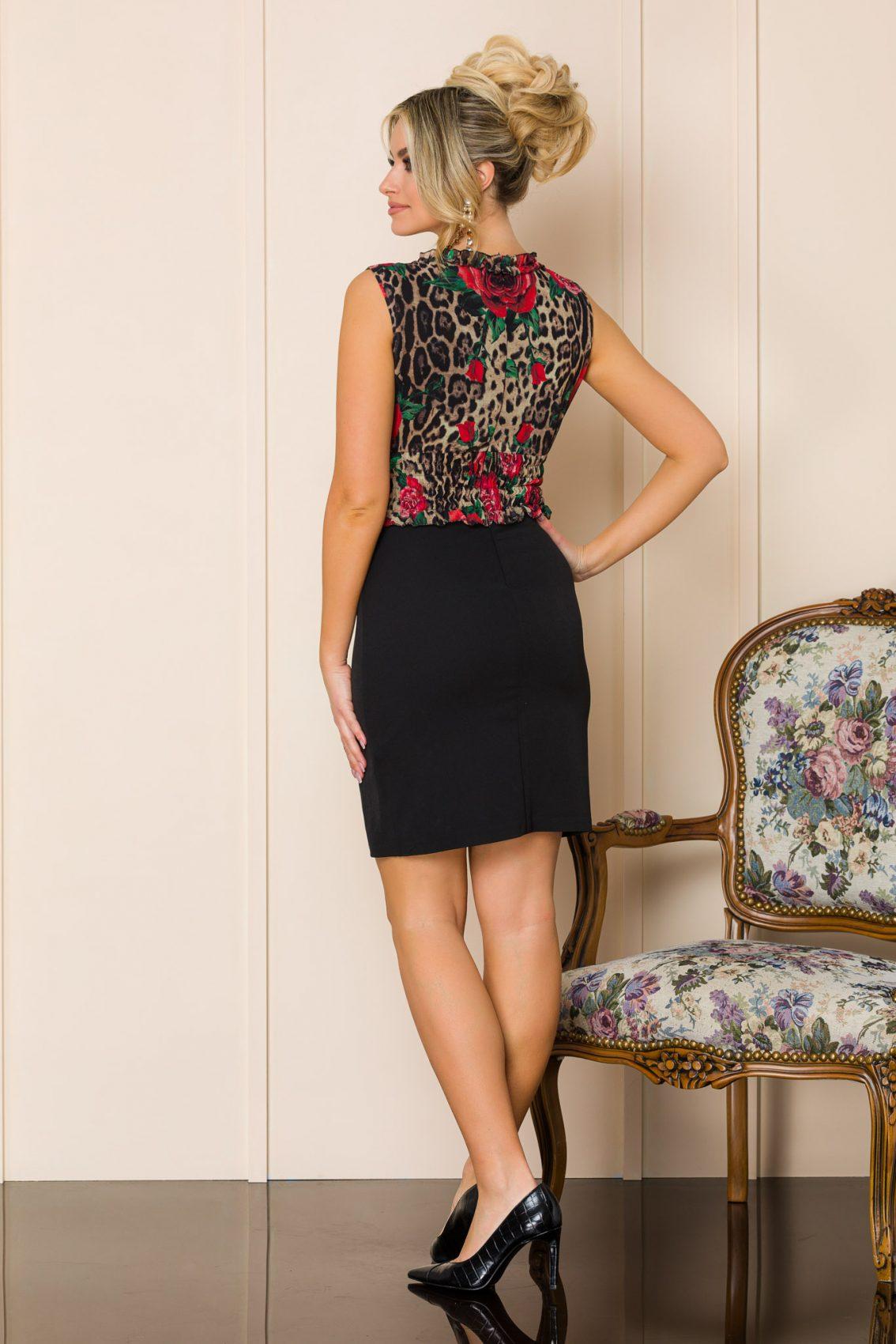 Μαύρο Μίνι Αμάνικο Φόρεμα Rovena A194 2