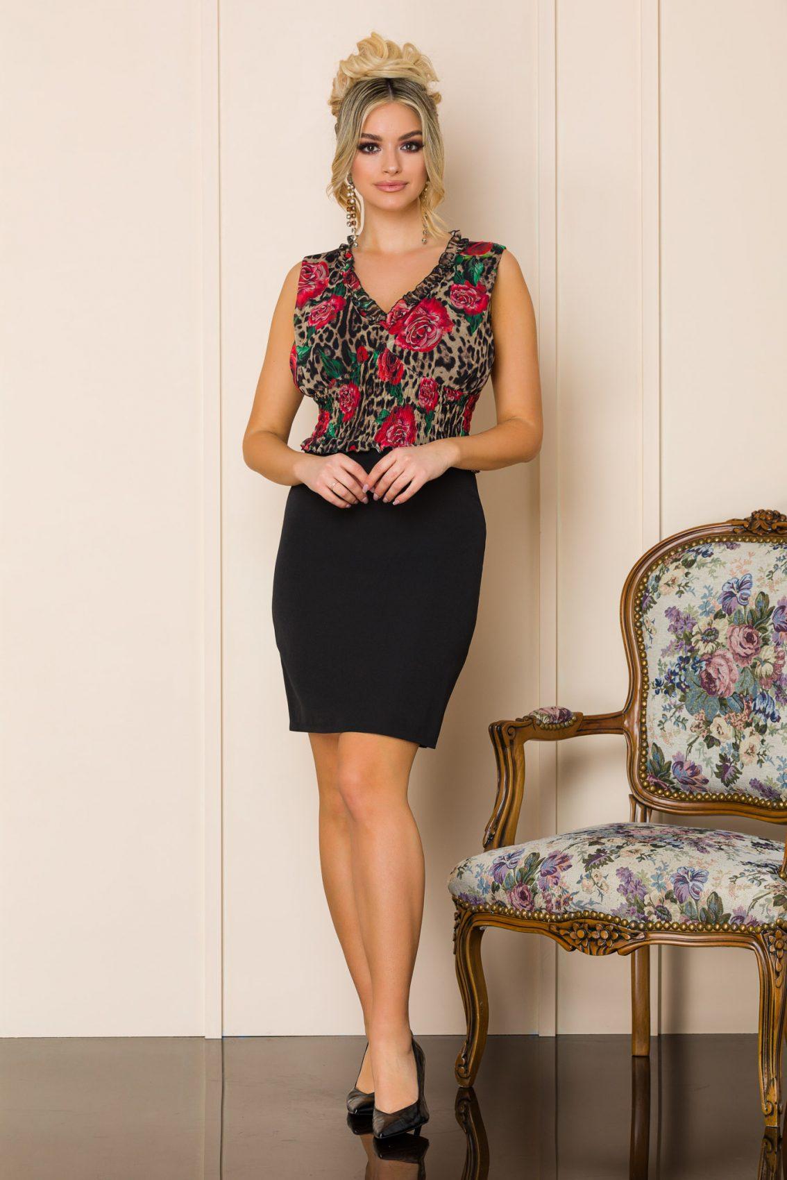 Μαύρο Μίνι Αμάνικο Φόρεμα Rovena A194 1