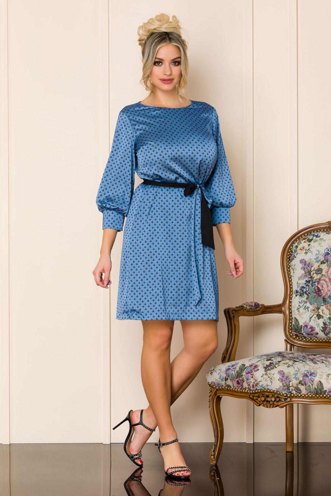 Μπλε Σατέν Φόρεμα Marina A196 1
