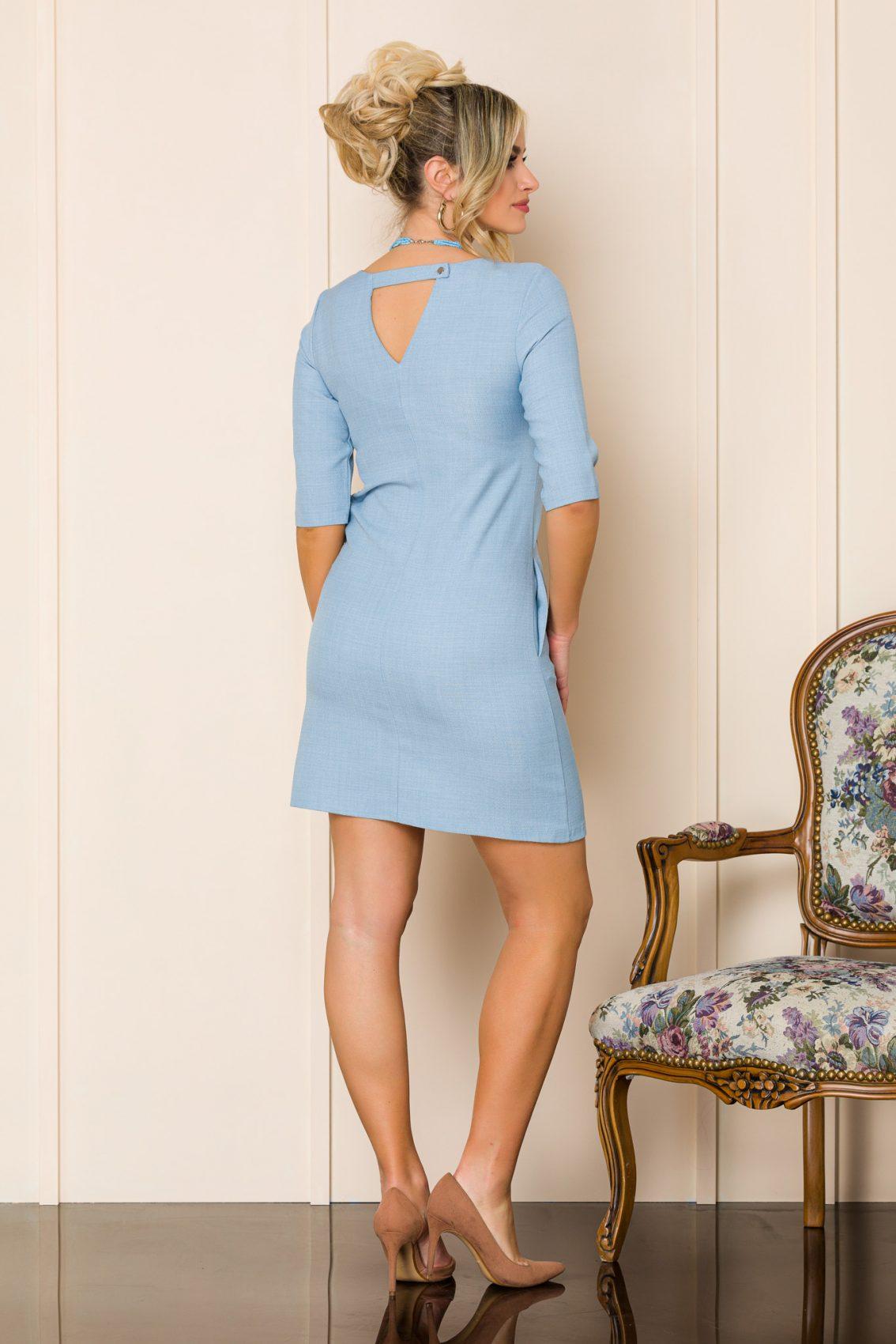 Γαλάζιο Μίνι Φόρεμα Με Κολιέ Mona A129 2