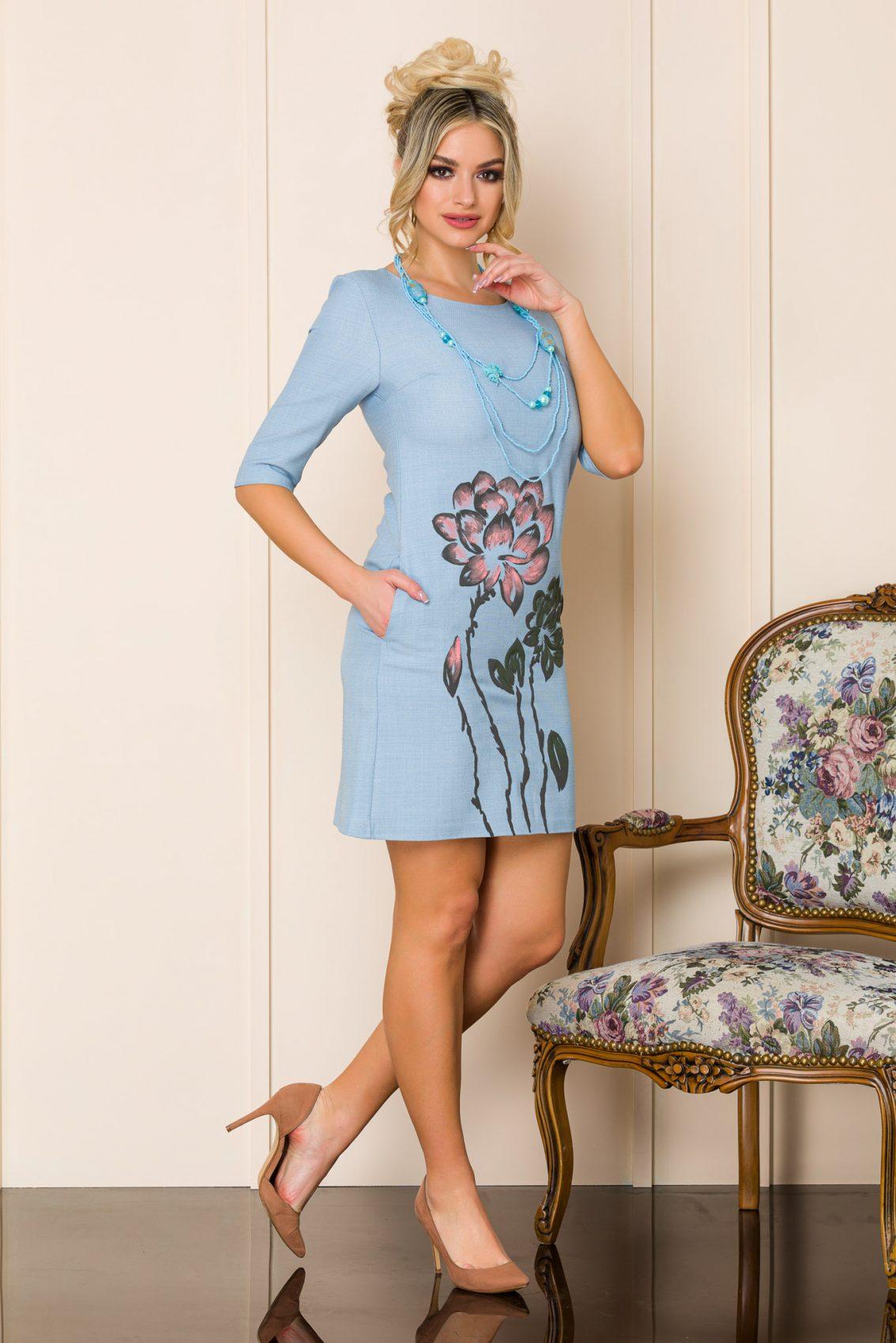 Γαλάζιο Μίνι Φόρεμα Με Κολιέ Mona A129 1