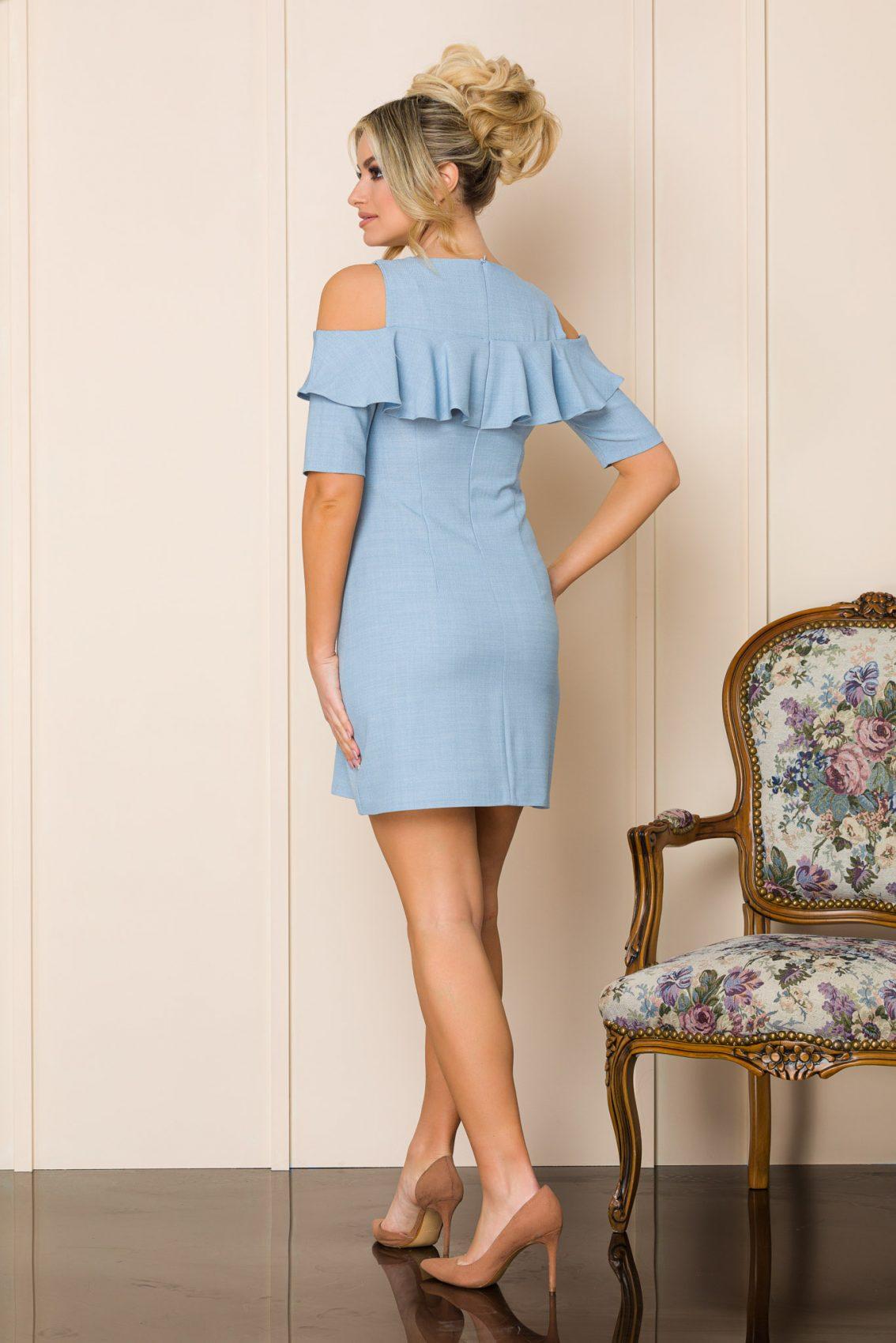 Μίνι Γαλάζιο Φόρεμα Με Βολάν Carol 9881 2