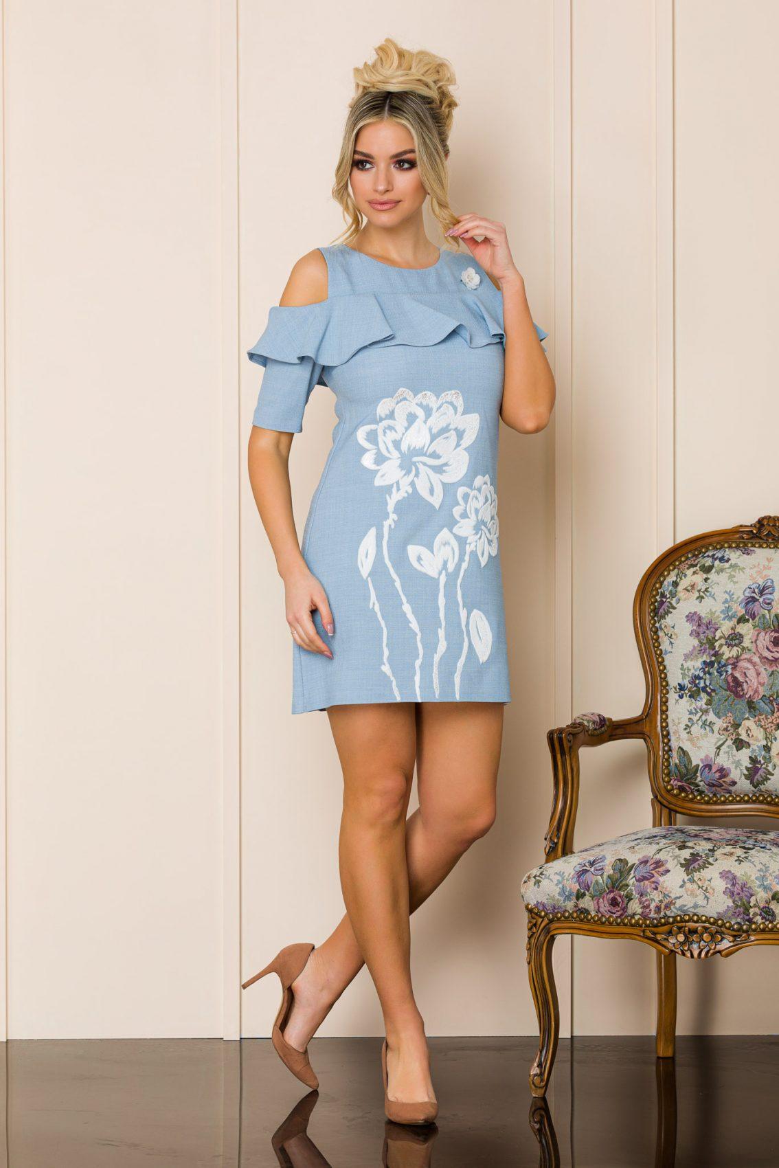 Μίνι Γαλάζιο Φόρεμα Με Βολάν Carol 9881 1