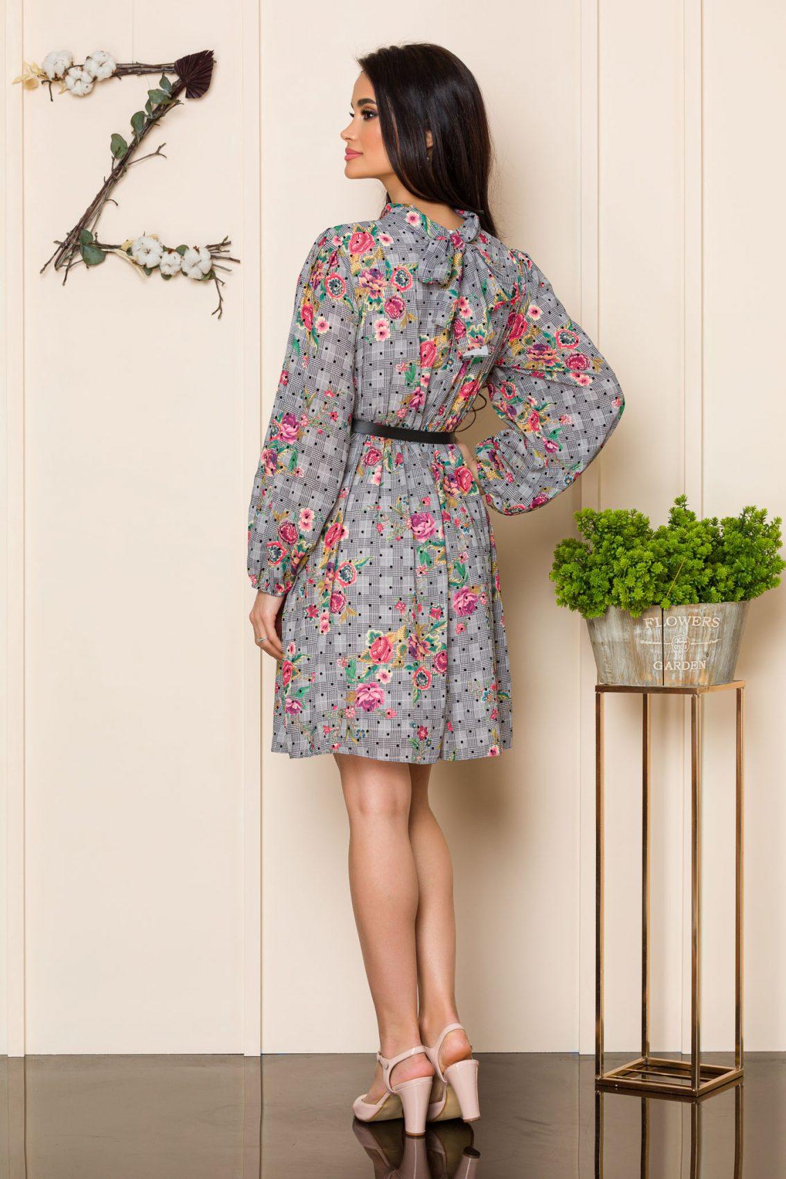 Γκρι Εμπριμέ Φόρεμα Claudine A112 2
