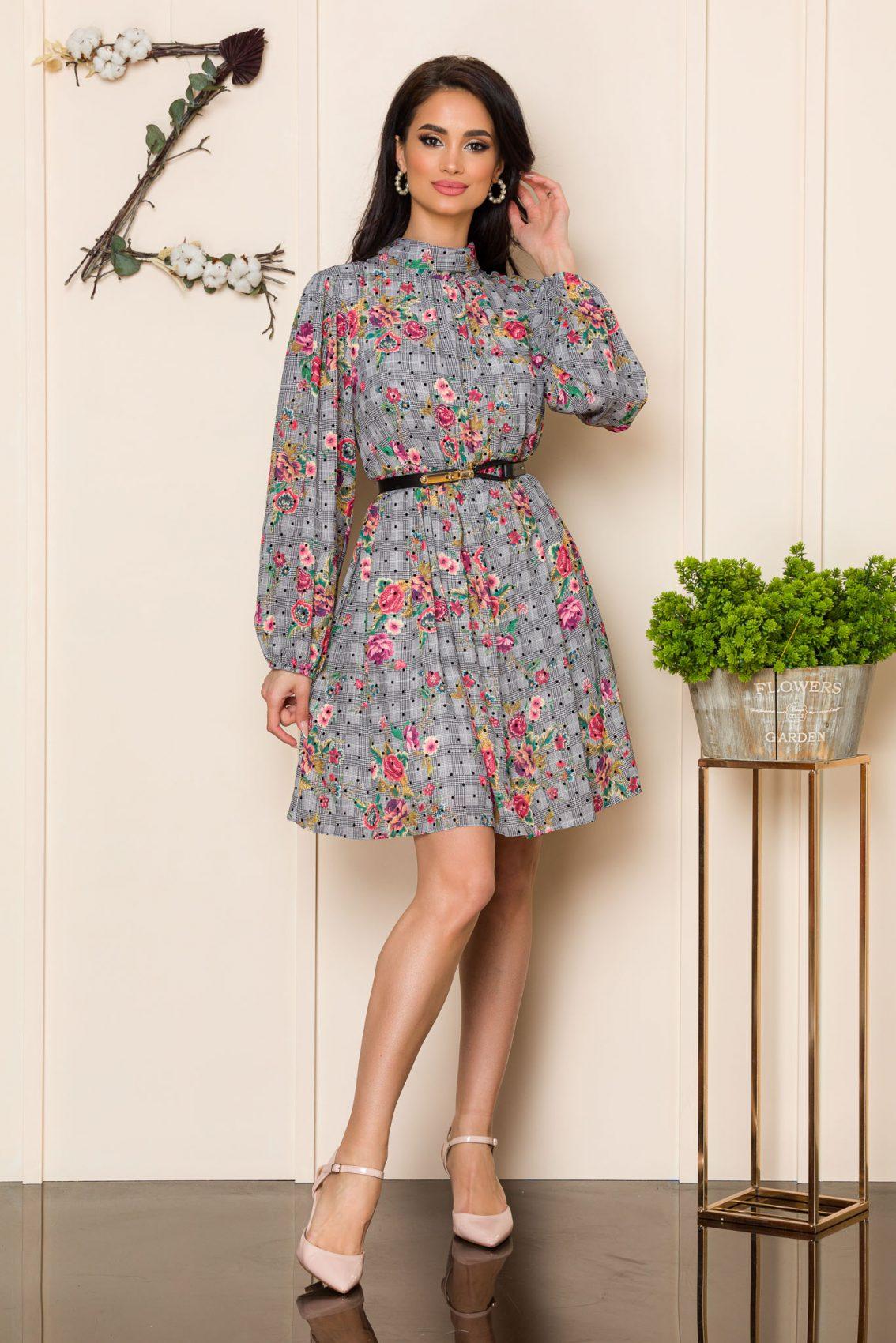 Γκρι Εμπριμέ Φόρεμα Claudine A112 1