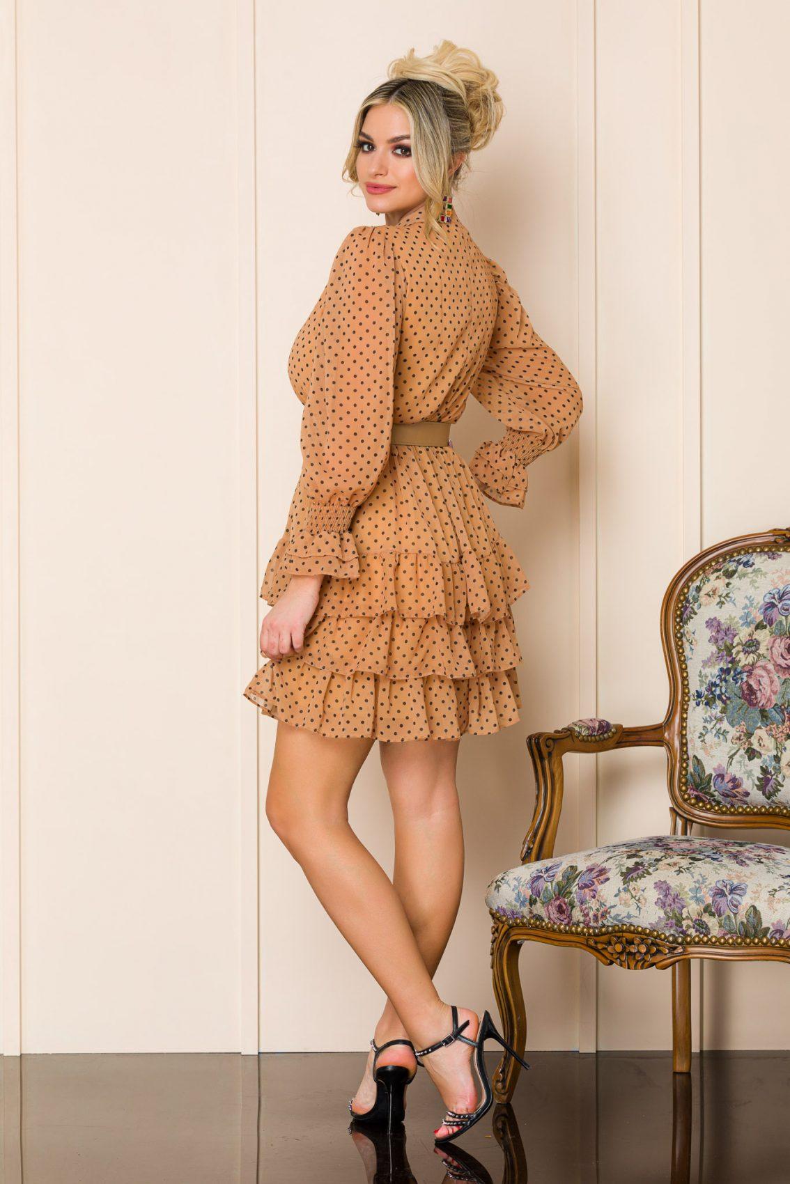 Ταμπά Πουά Φόρεμα Με Βολάν Tanya 9933 2