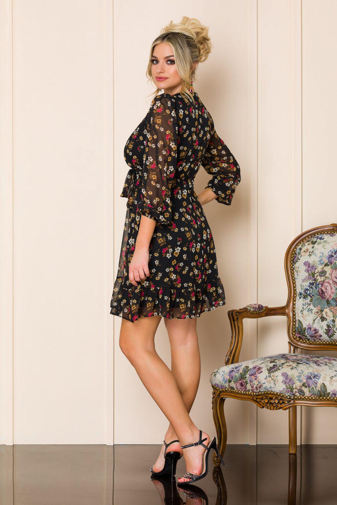 Μαύρο Κρουαζέ Εμπριμέ Φόρεμα Fionna A185 2
