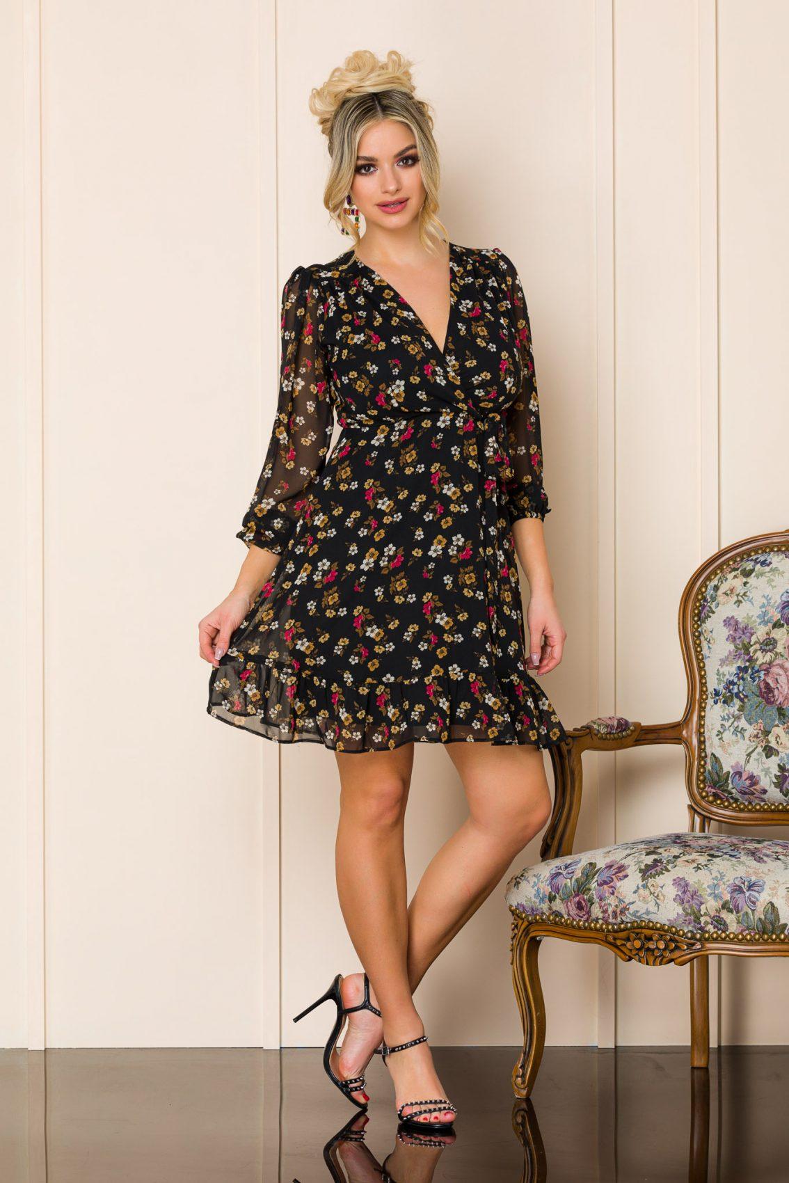 Μαύρο Κρουαζέ Εμπριμέ Φόρεμα Fionna A185 1