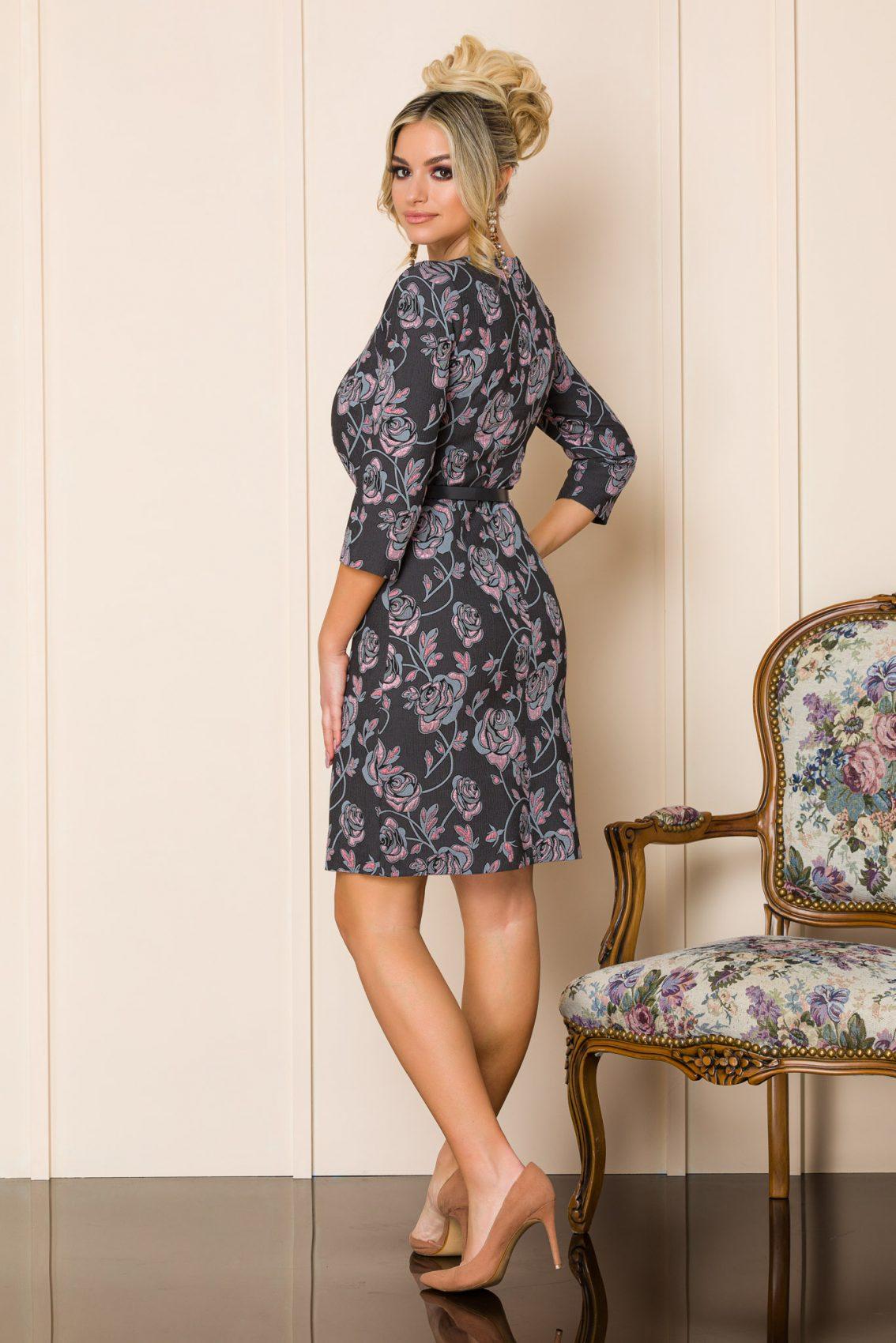 Λαδί Φλοράλ Φόρεμα Με Ζώνη Sabria 9902 2