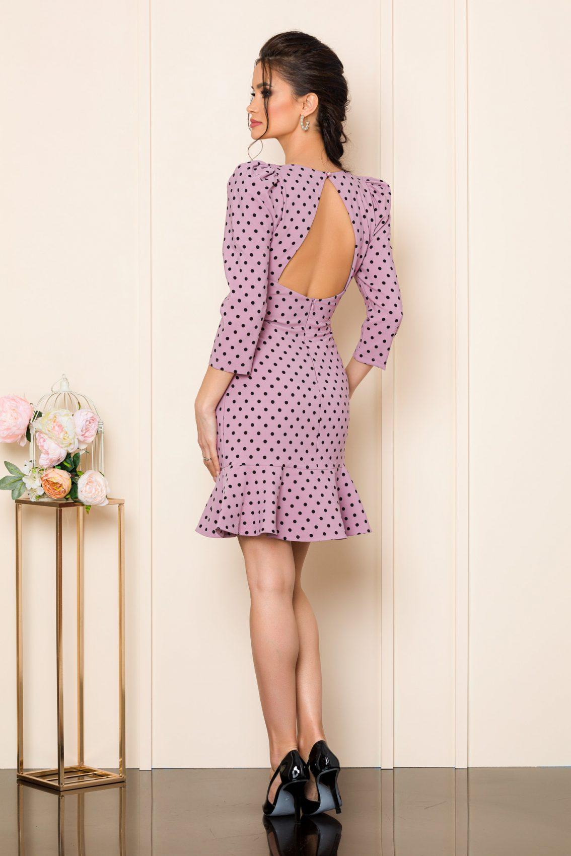 Λιλά Πουά Φόρεμα Susan 7253 2