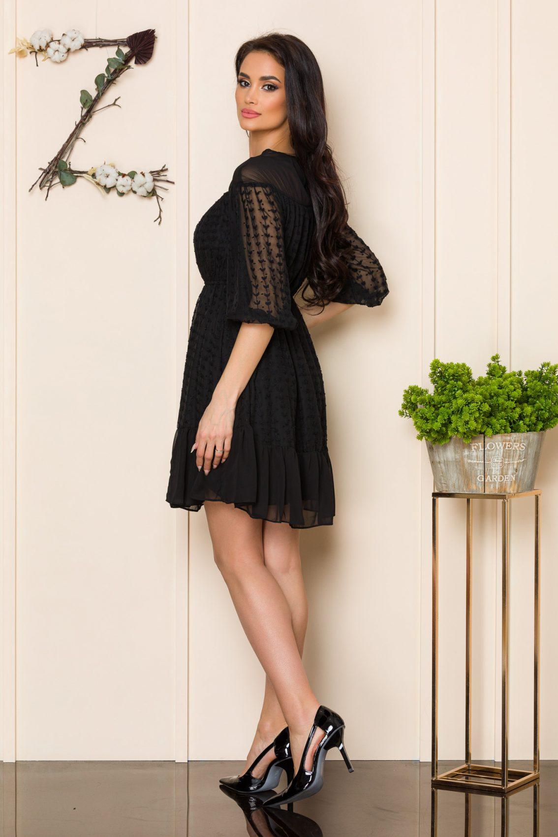 Μαύρο Μίνι Φόρεμα Με Βολάν Claire A121 2