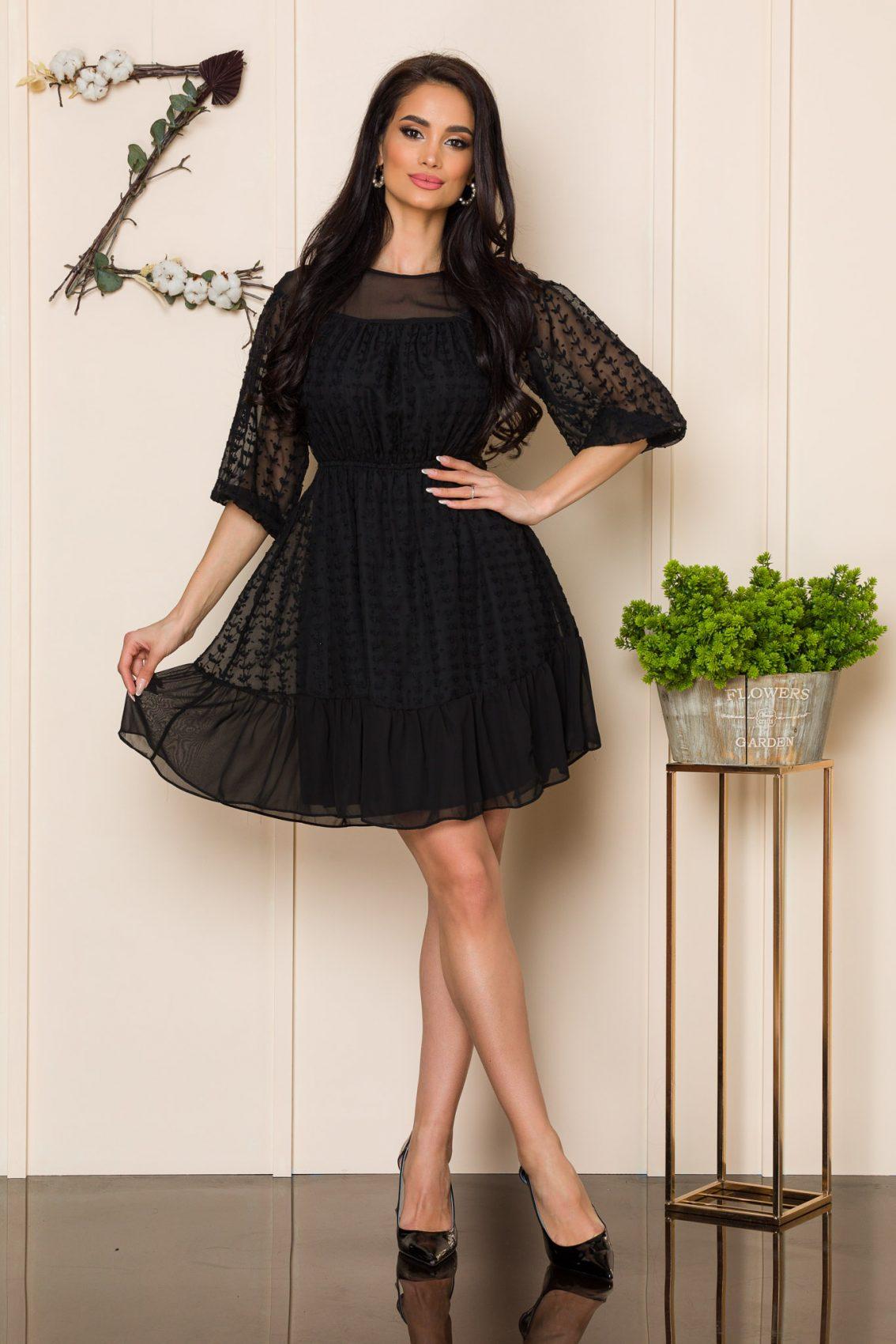 Μαύρο Μίνι Φόρεμα Με Βολάν Claire A121 1