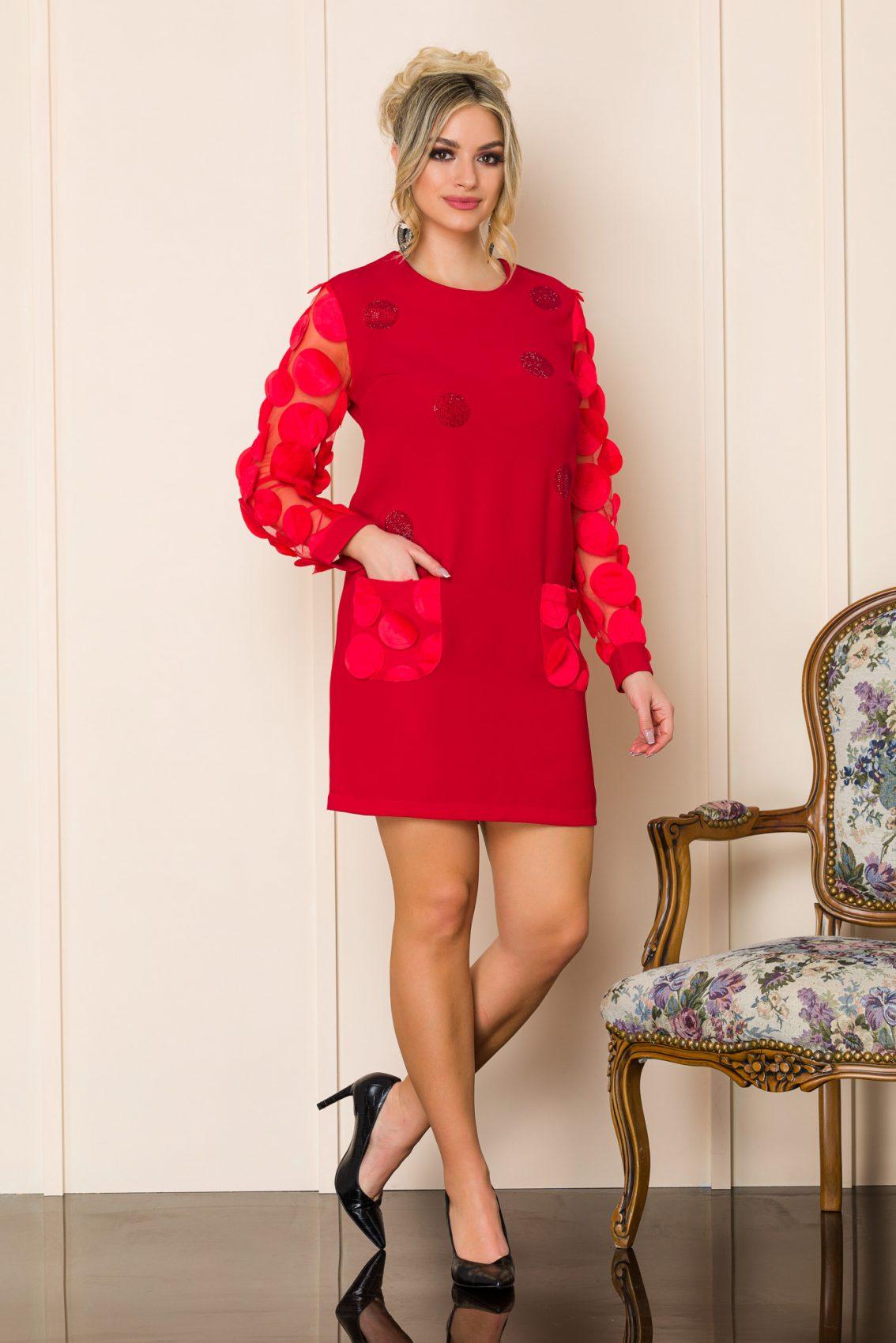 Κόκκινο Μίνι Πουά Φόρεμα Sorana A170 1