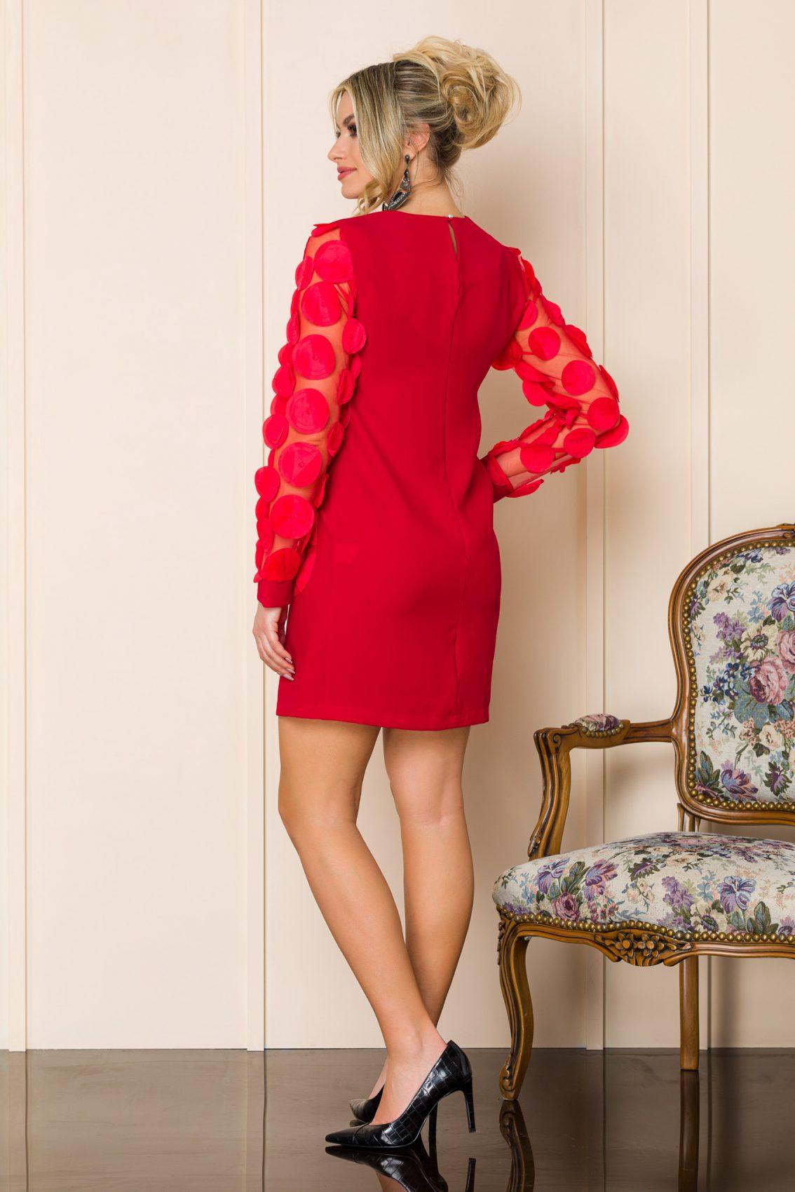 Κόκκινο Μίνι Πουά Φόρεμα Sorana A170 2