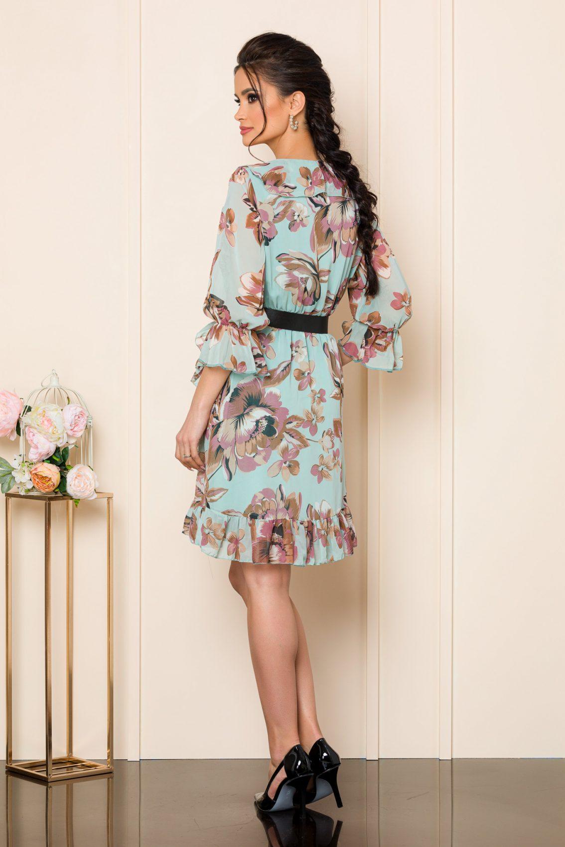 Μέντα Φλοράλ Φόρεμα Με Ζώνη Elda 7556 2