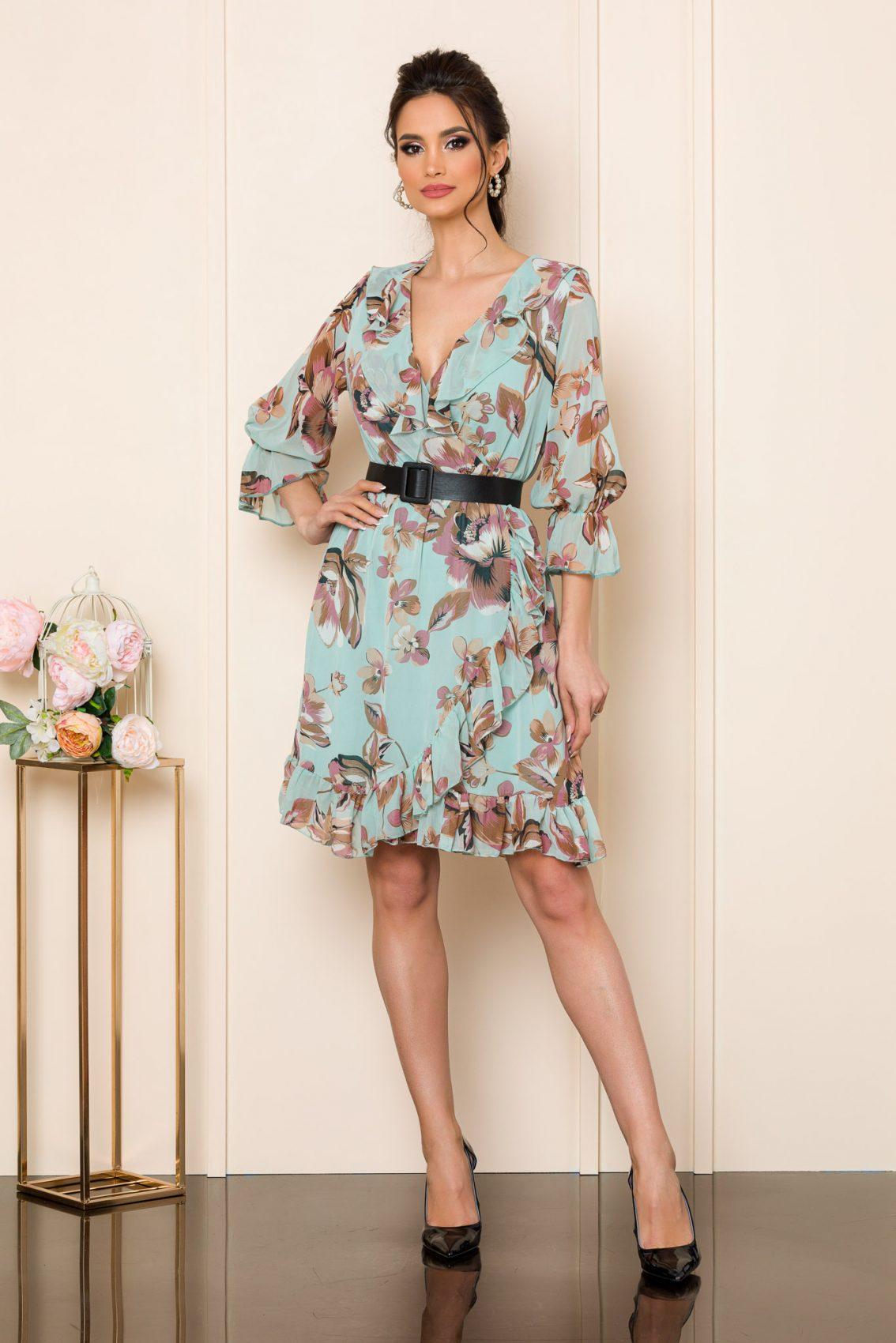 Μέντα Φλοράλ Φόρεμα Με Ζώνη Elda 7556 1