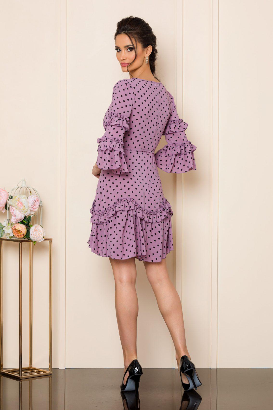 Λιλά Μίνι Πουά Φόρεμα Με Βολάν Eda 9817 2
