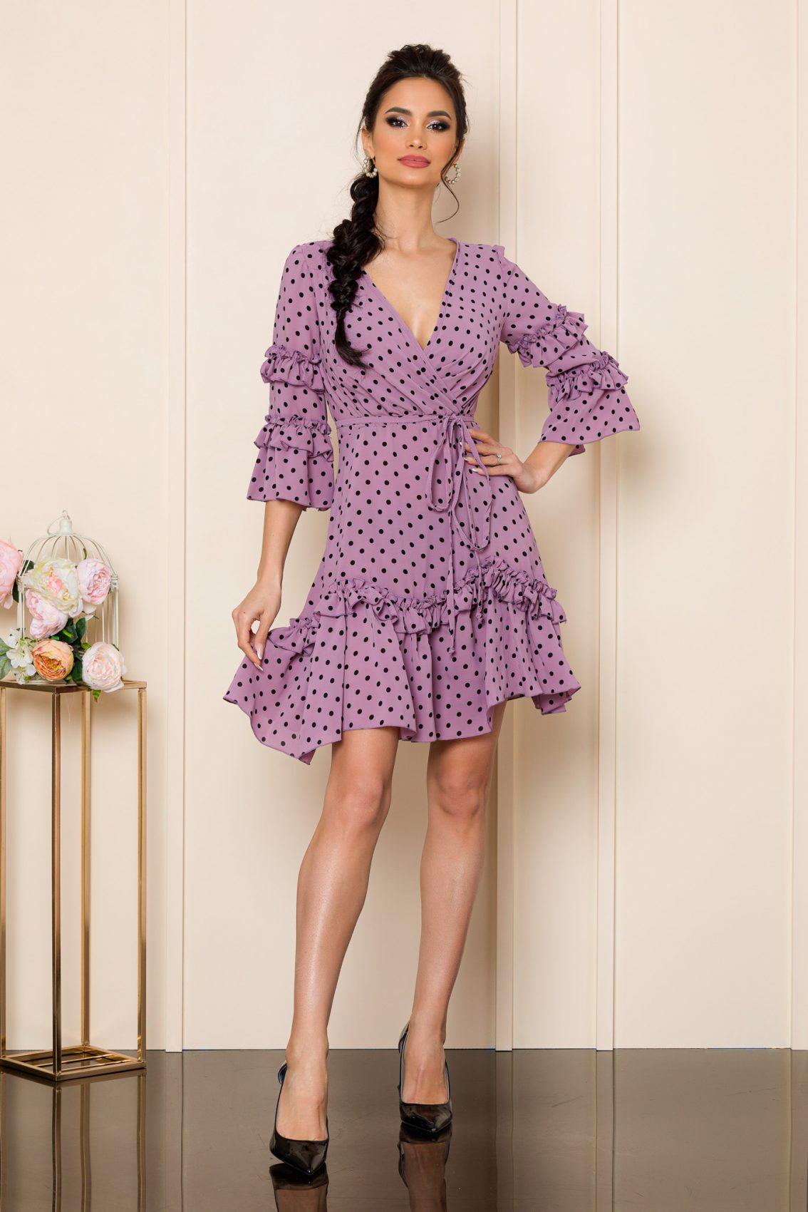 Λιλά Μίνι Πουά Φόρεμα Με Βολάν Eda 9817 1