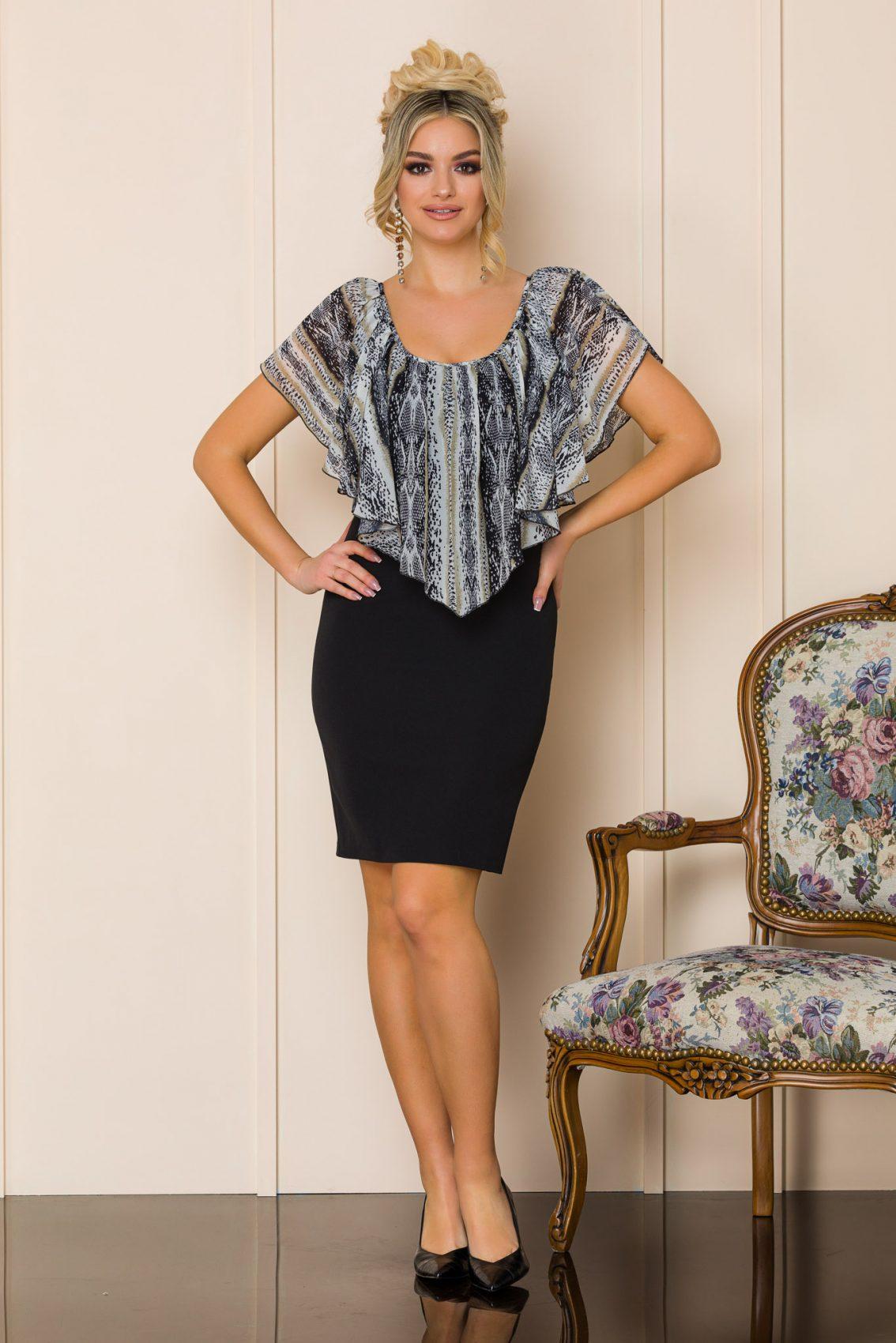 Μαύρο Μίνι Φόρεμα Με Βολάν Vanya A192 1