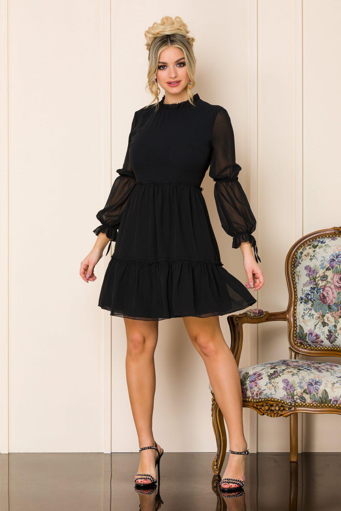 Μαύρο Μίνι Φόρεμα Hermina 9936 1