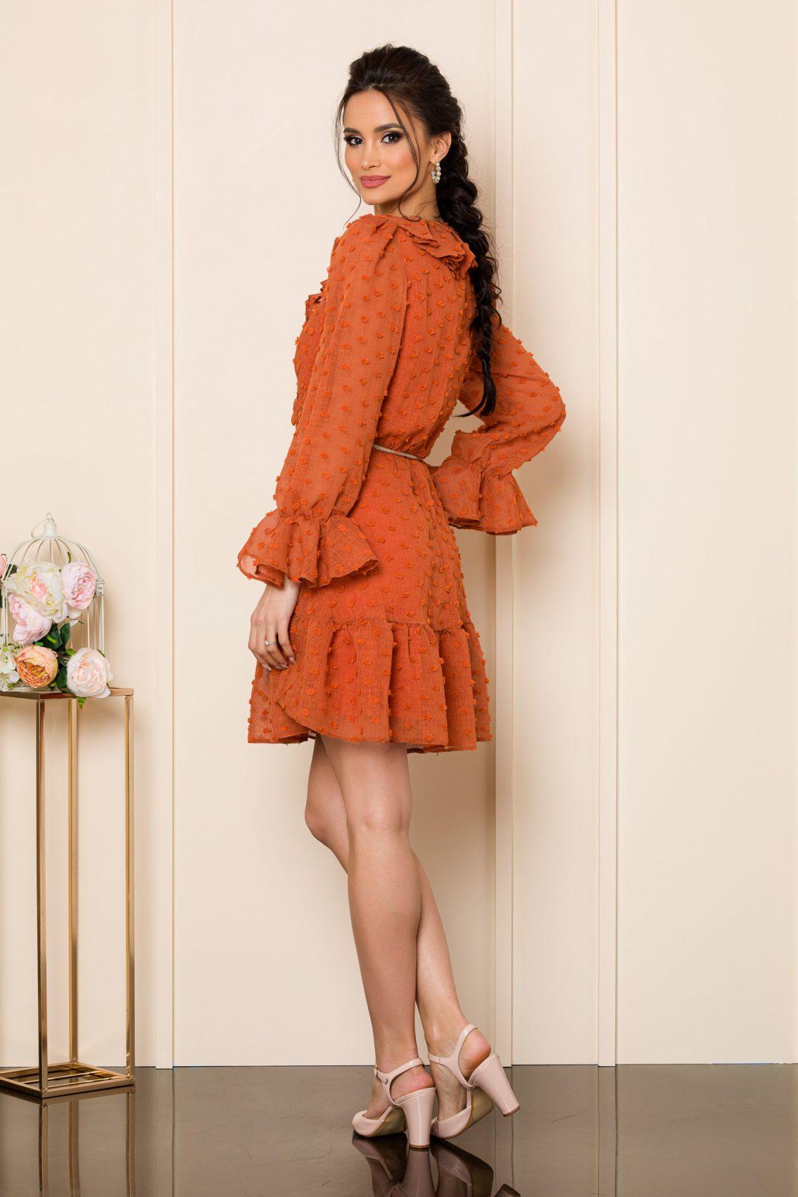 Κεραμιδί Μίνι Φόρεμα Με Βολάν Willow 9809 2