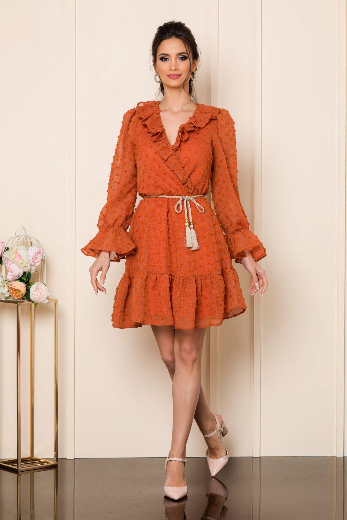 Κεραμιδί Μίνι Φόρεμα Με Βολάν Willow 9809 1