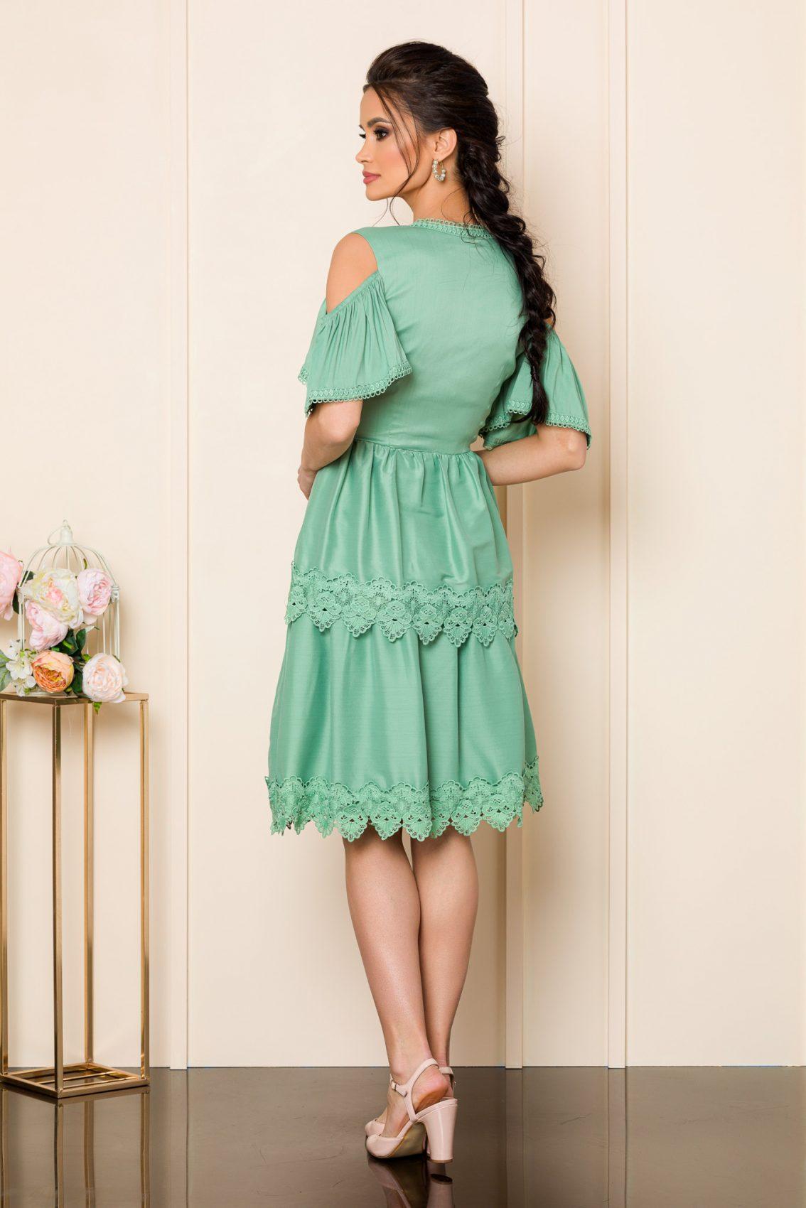 Πράσινο Φόρεμα Με Δαντέλα Katie 9846 2