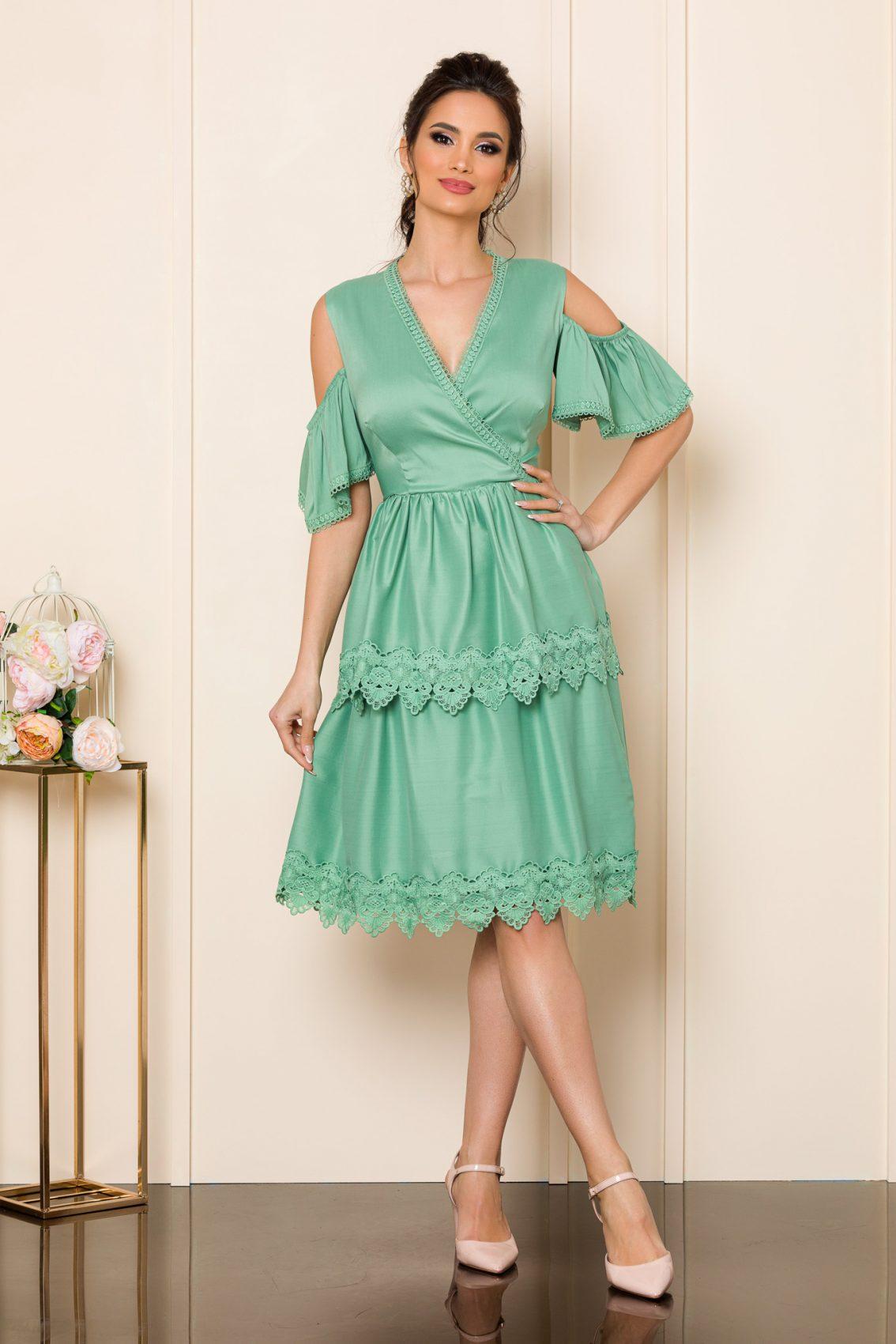 Πράσινο Φόρεμα Με Δαντέλα Katie 9846 1
