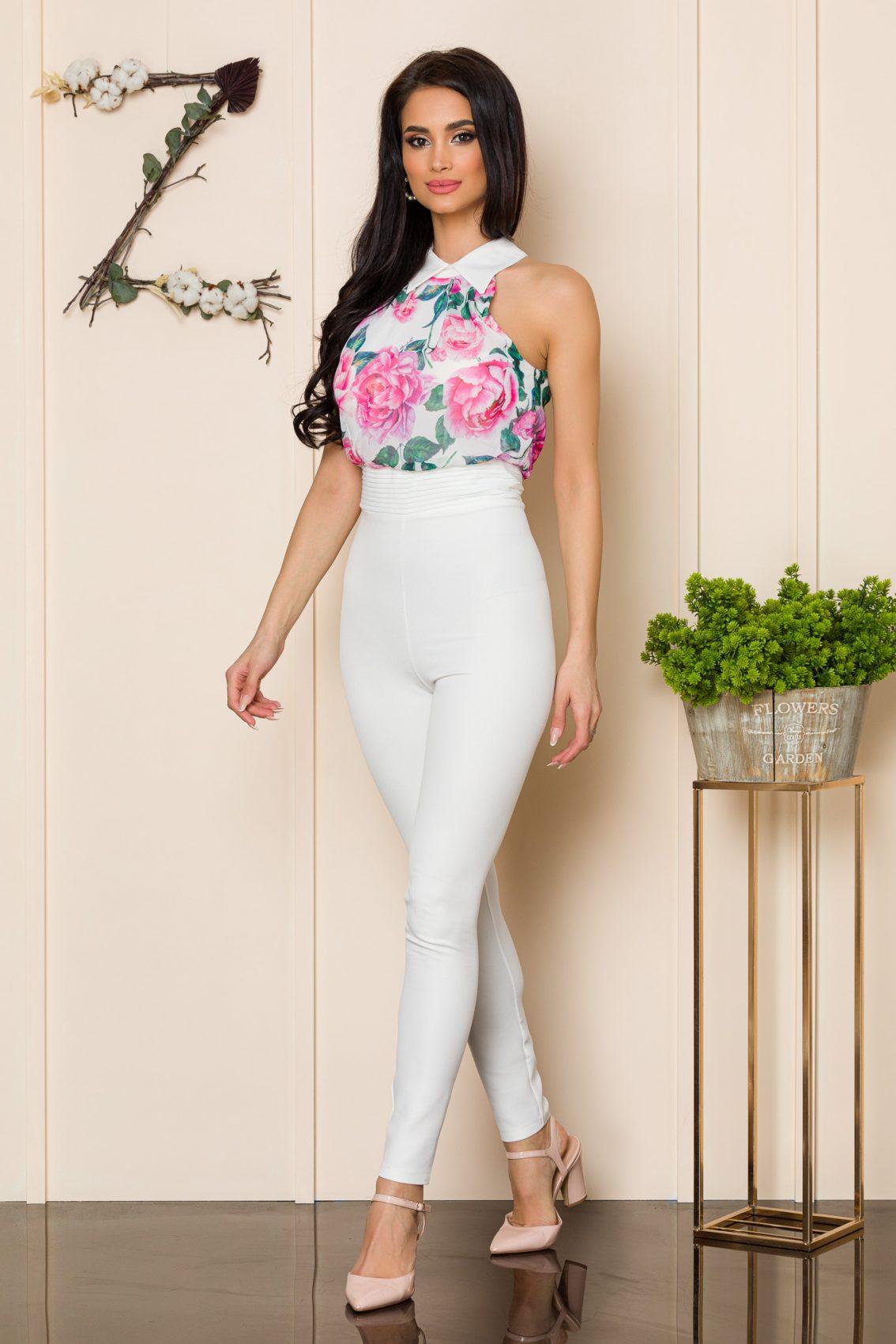 Λευκή Ολόσωμη Φλοράλ Φόρμα Filis A137 1