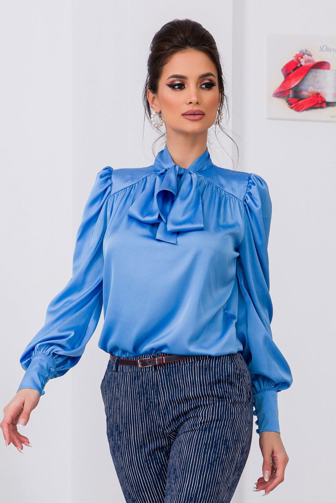 Μπλε Σατέν Μπλούζα Με Φιόγκο Angie 9696 1