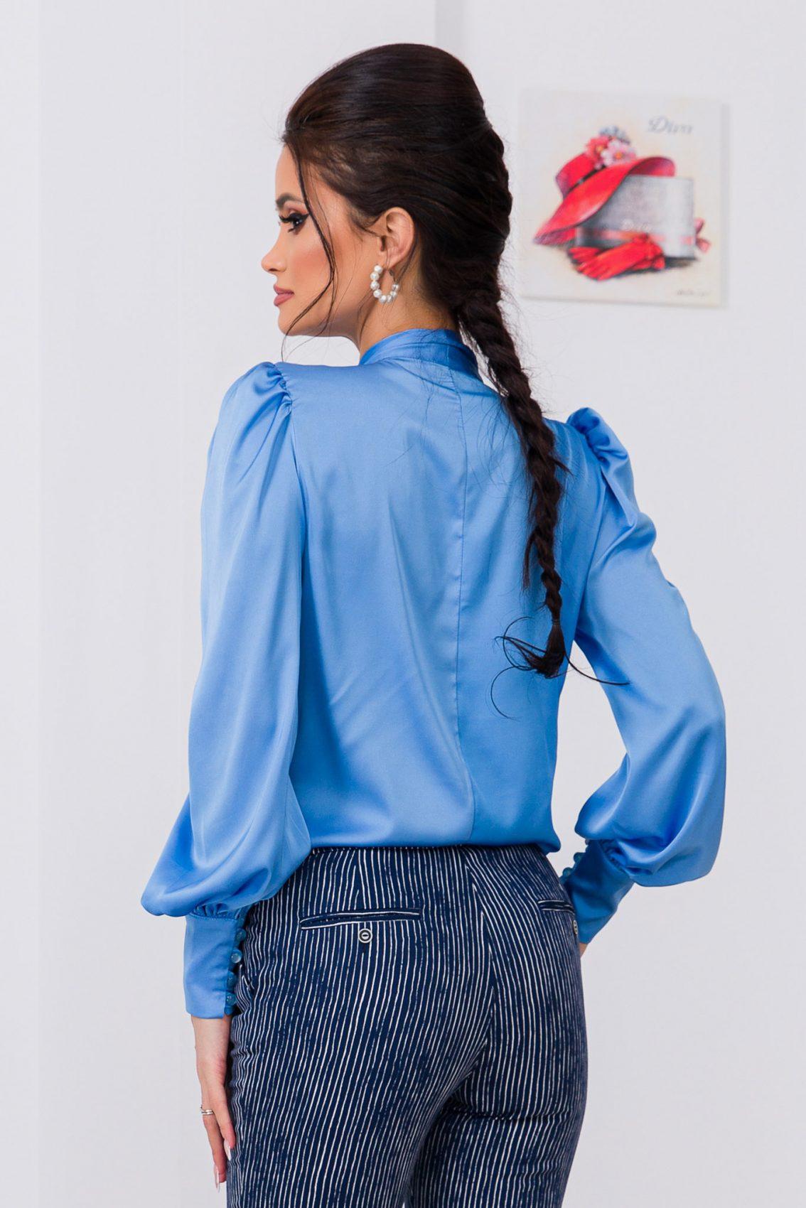 Μπλε Σατέν Μπλούζα Με Φιόγκο Angie 9696 3