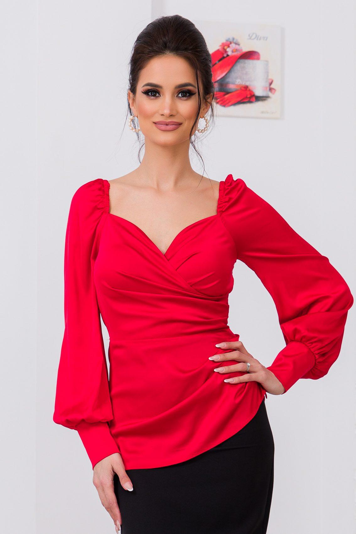 Κόκκινη Σατέν Μπλούζα Nika 9698 3