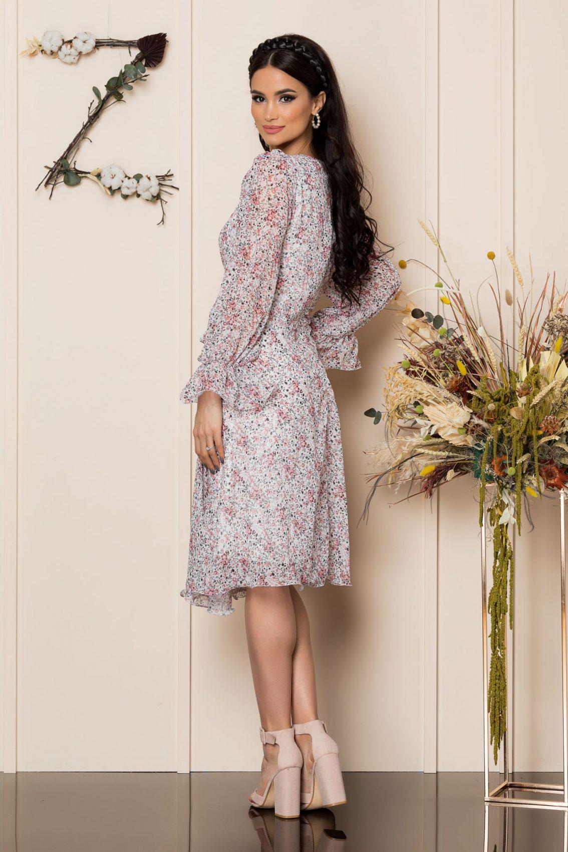 Λευκό Εμπριμέ Κλος Φόρεμα Simine A279 2