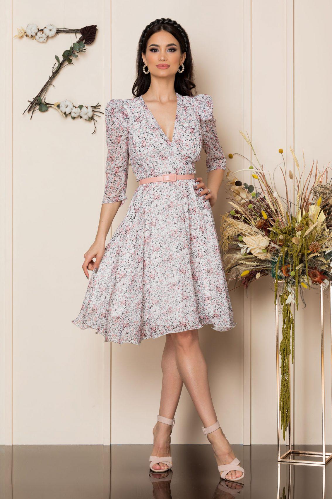 Φλοράλ Κρουαζέ Φόρεμα Με Ροζ Ζώνη Magda A254 1