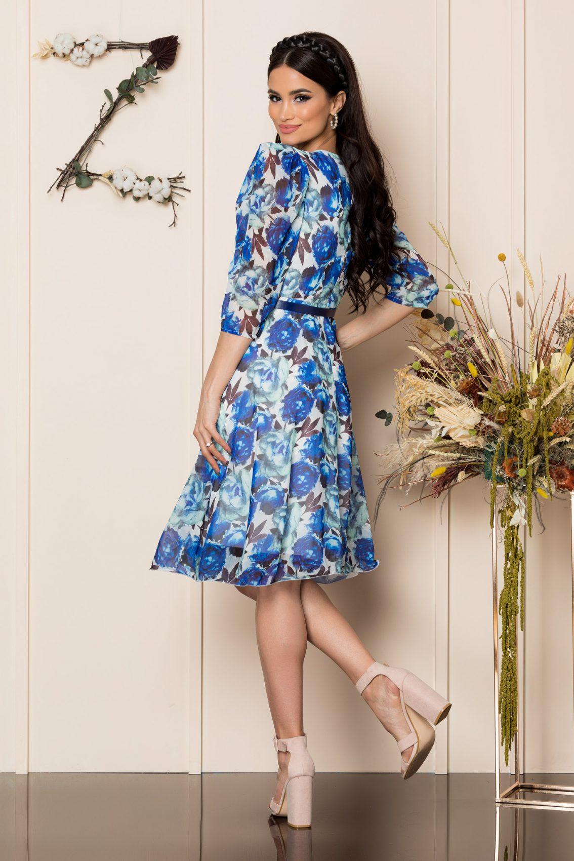 Μπλε Φλοράλ Κρουαζέ Φόρεμα Magda A253 2