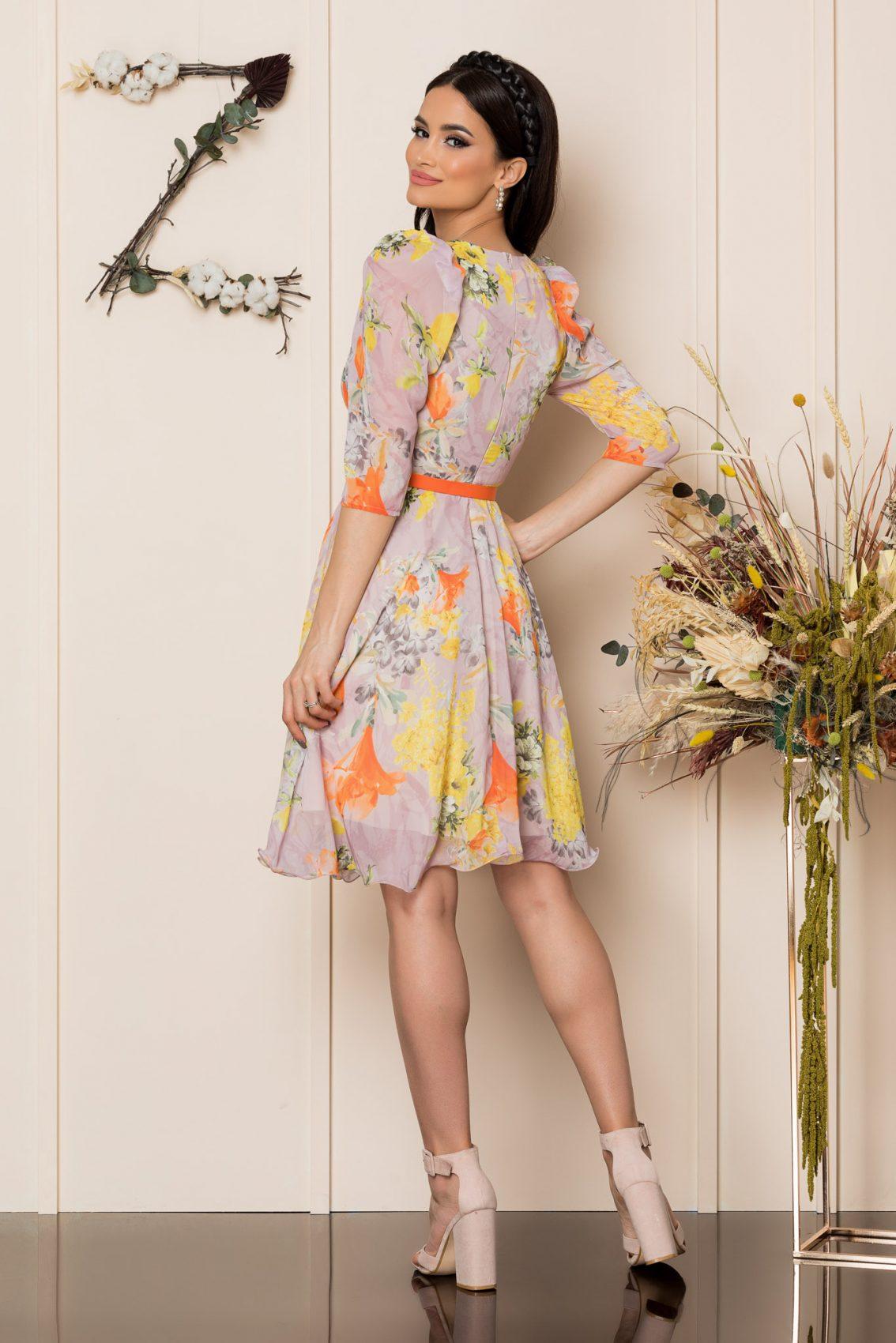 Κίτρινο Φλοράλ Κρουαζέ Φόρεμα Magda A256 2